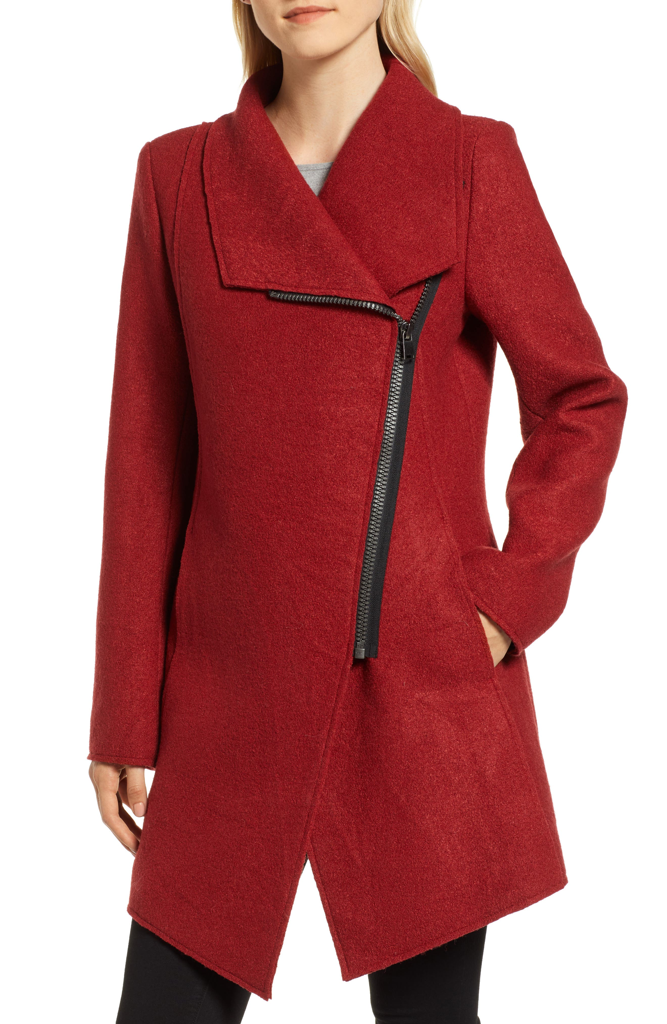 HALOGEN<SUP>®</SUP>,                             Asymmetrical Zip Boiled Wool Blend Coat,                             Alternate thumbnail 4, color,                             BRICK RED