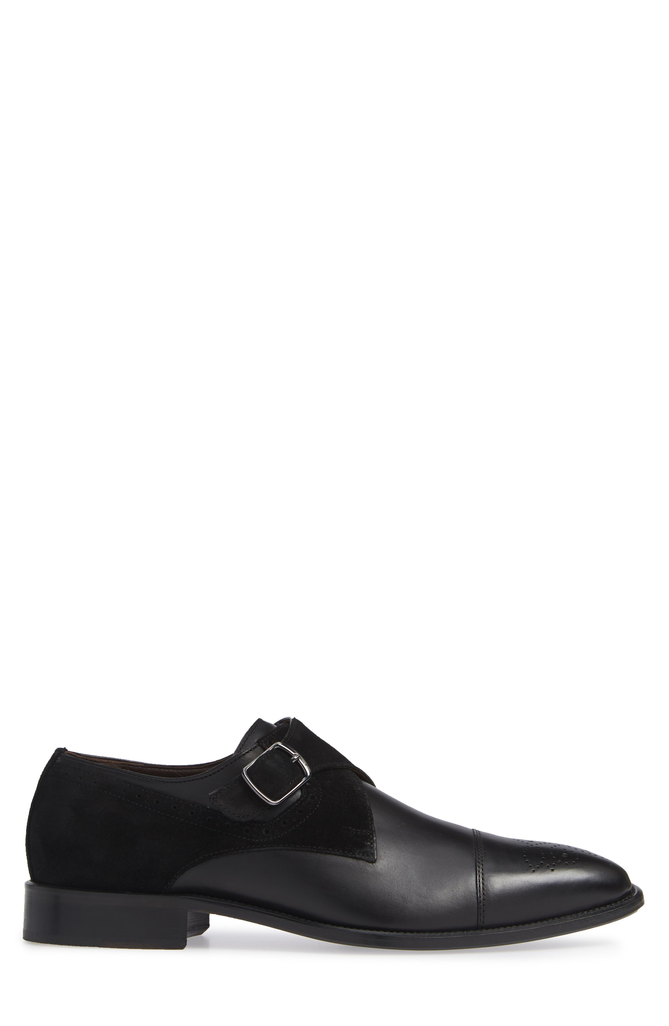 Maxwell Monk Shoe,                             Alternate thumbnail 3, color,                             BLACK SUEDE