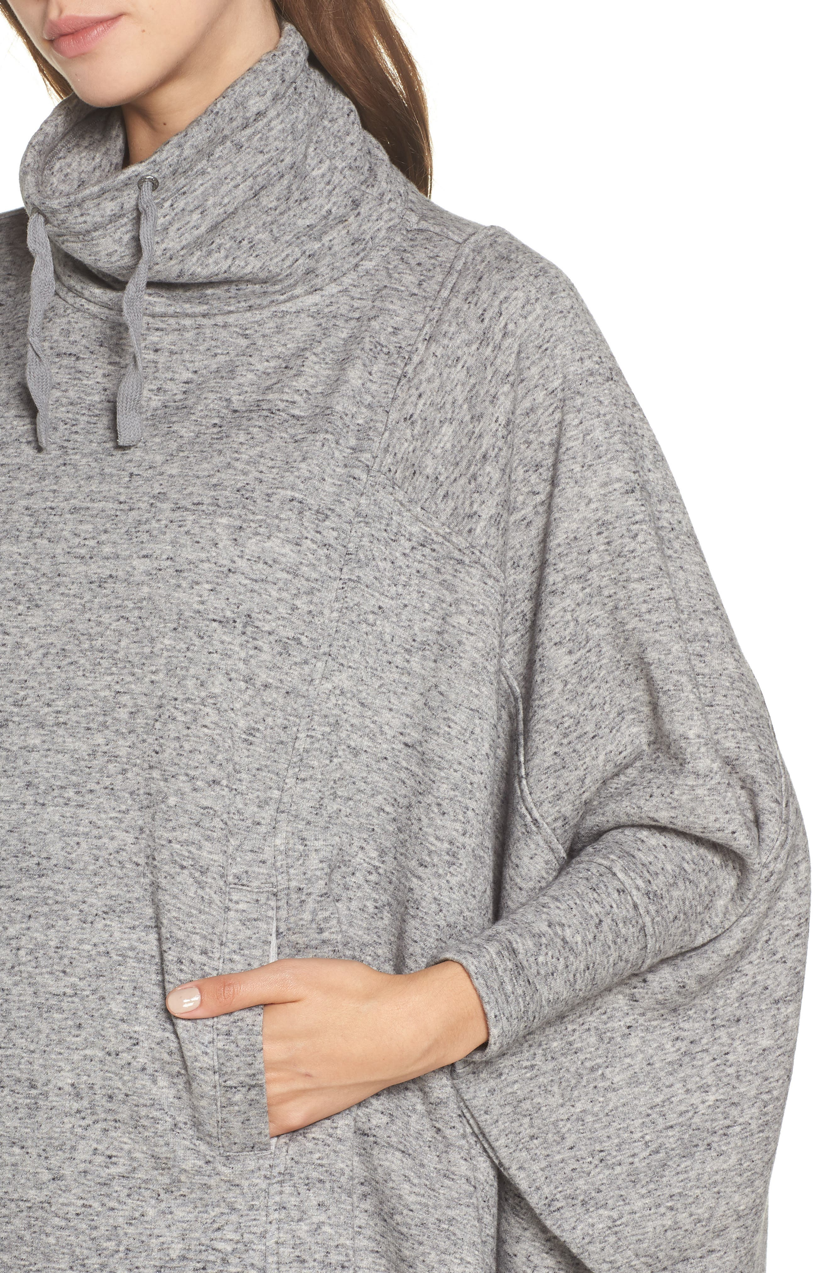 Pichot Turtleneck Poncho,                             Alternate thumbnail 4, color,                             GREY HEATHER