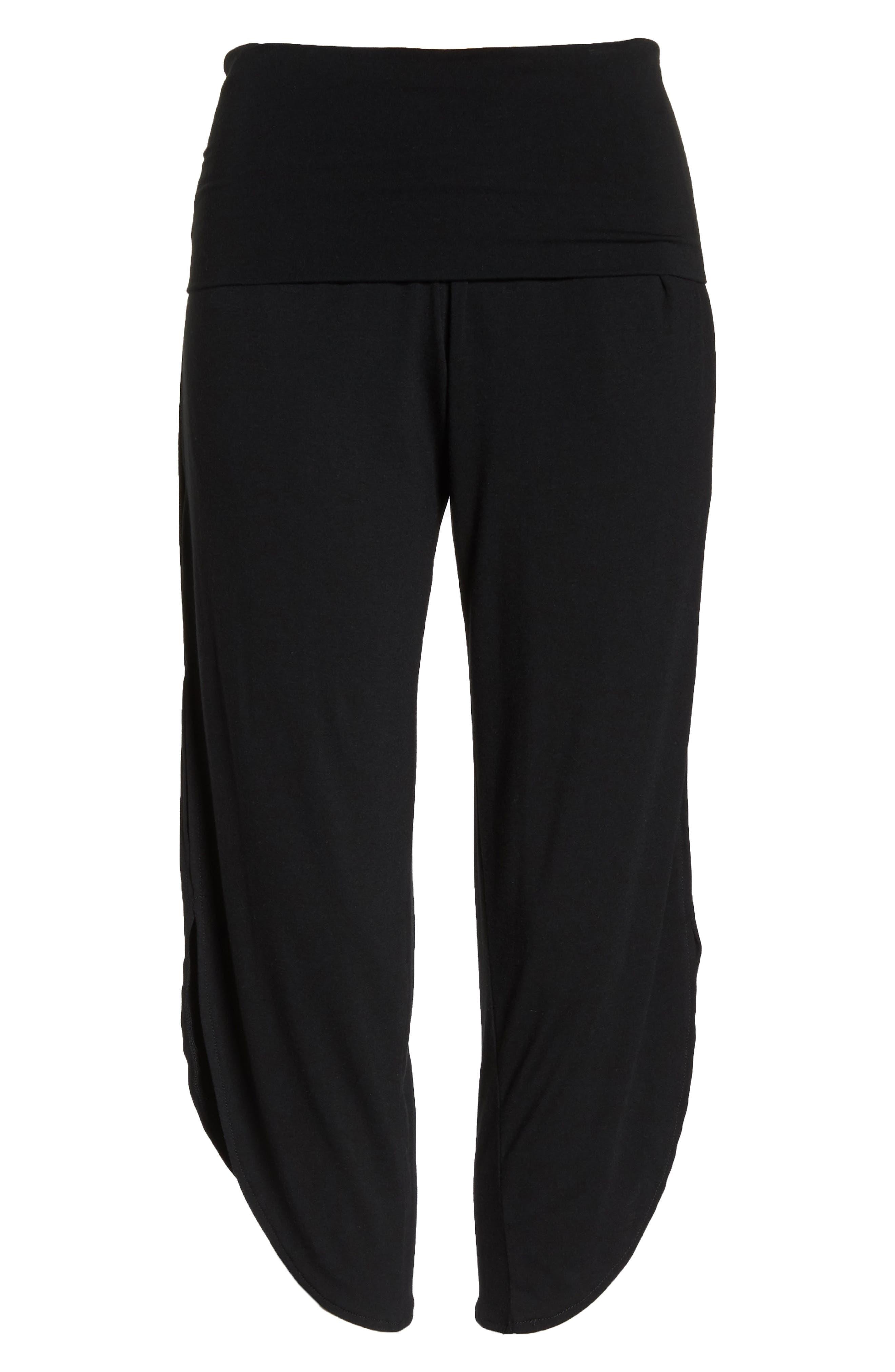 Foldover Waist Tulip Pants,                             Alternate thumbnail 7, color,                             BLACK