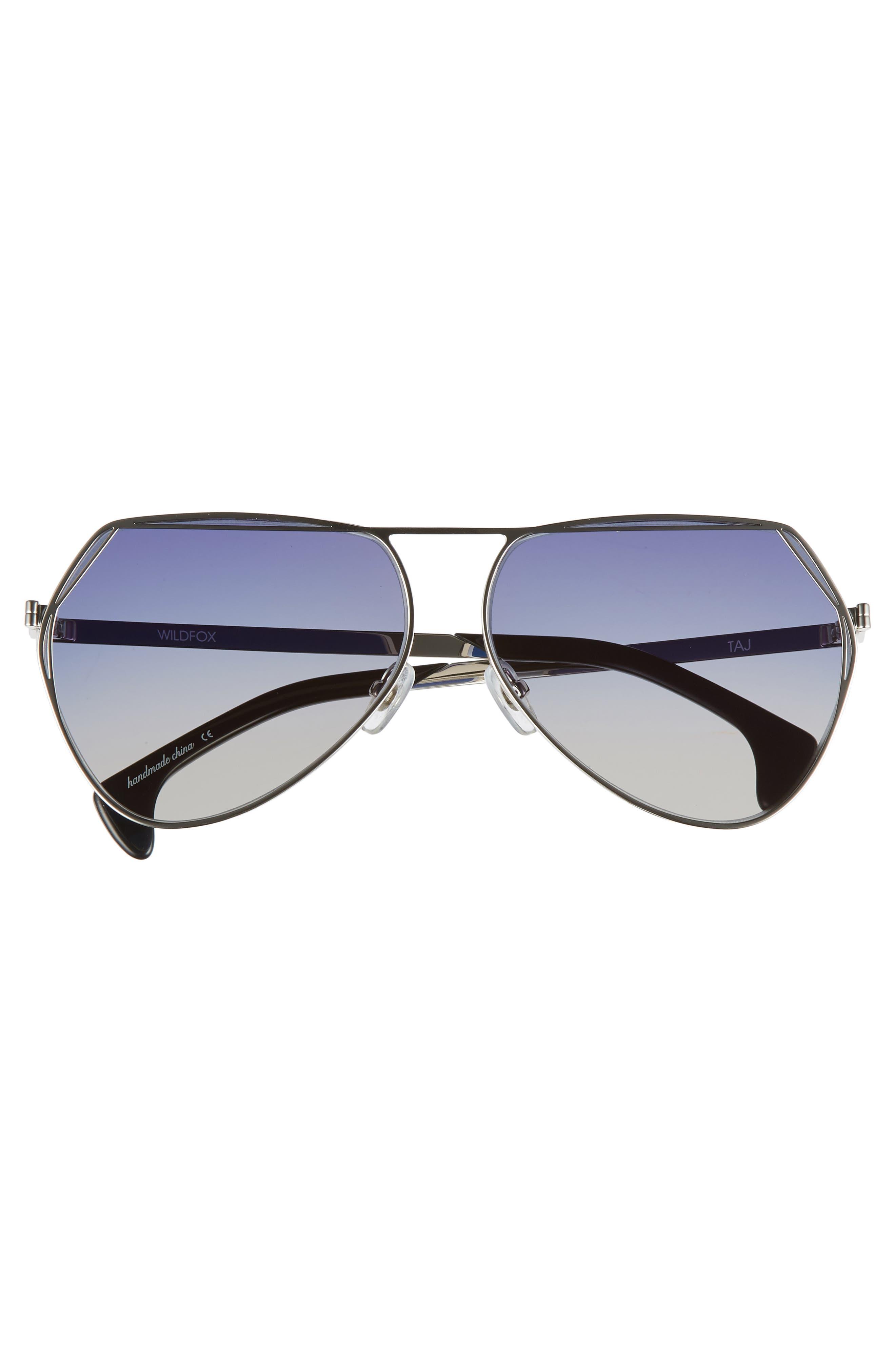 Taj 62mm Oversize Aviator Sunglasses,                             Alternate thumbnail 3, color,                             SILVER/ GREY-BLUE GRADIENT