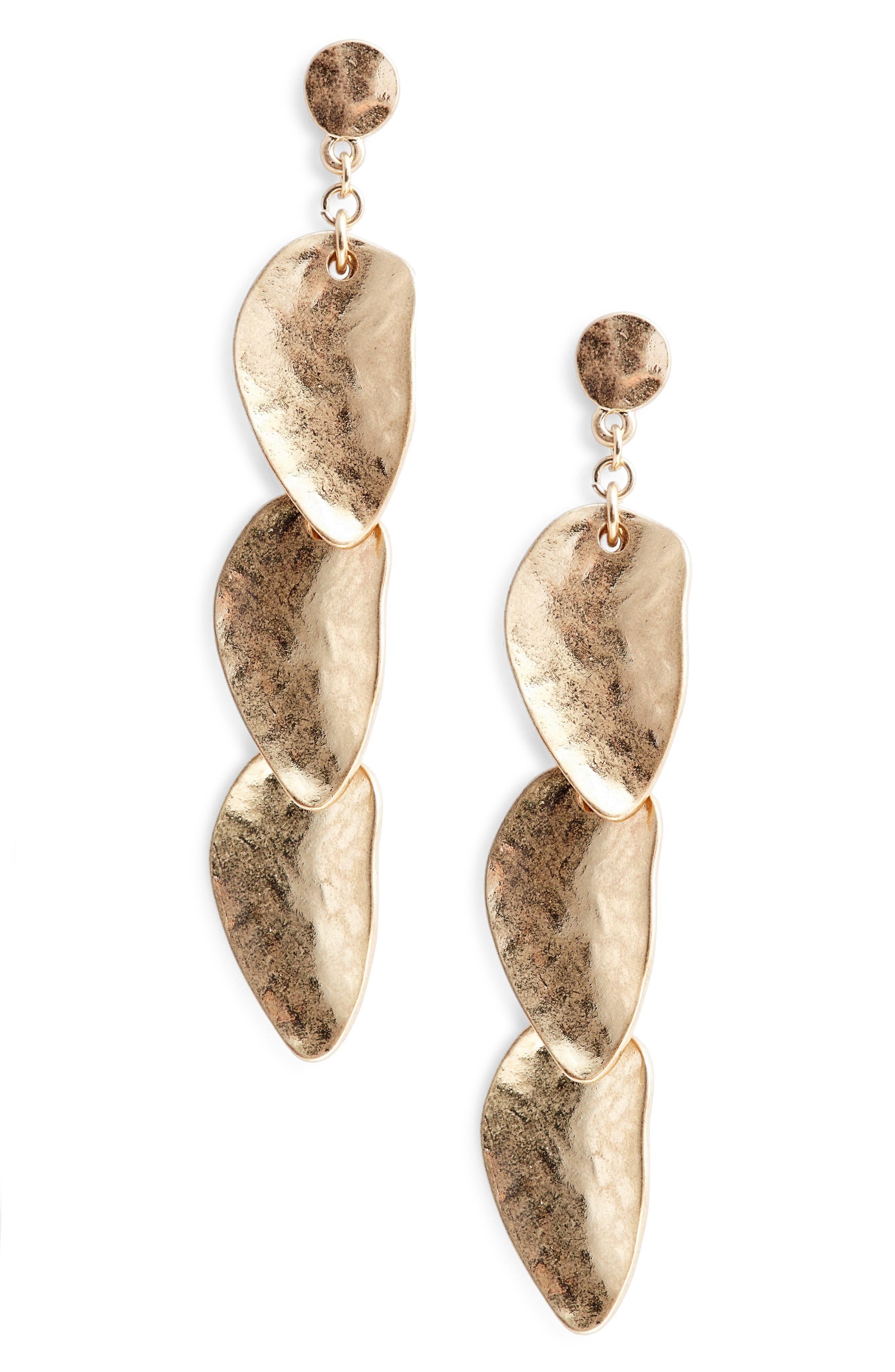 Organic Petal Cascade Drop Earrings,                             Main thumbnail 2, color,