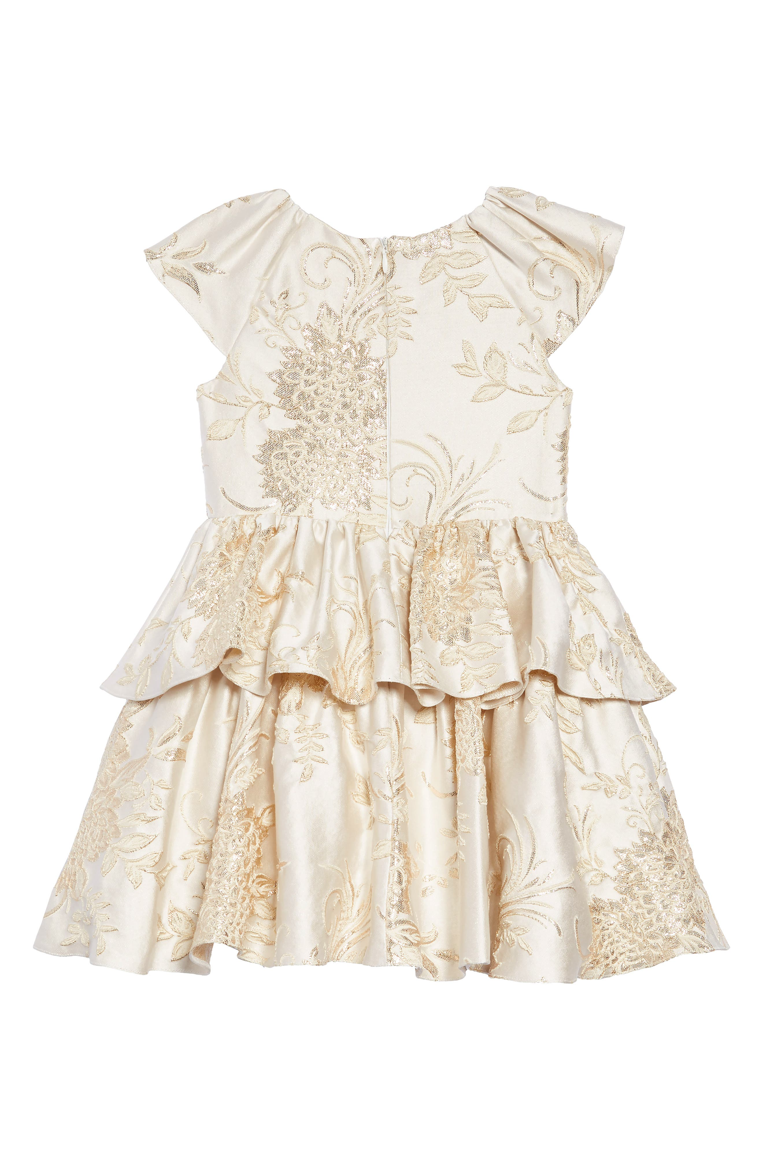 Brocade Dress,                             Alternate thumbnail 2, color,                             IVORY/ GOLD