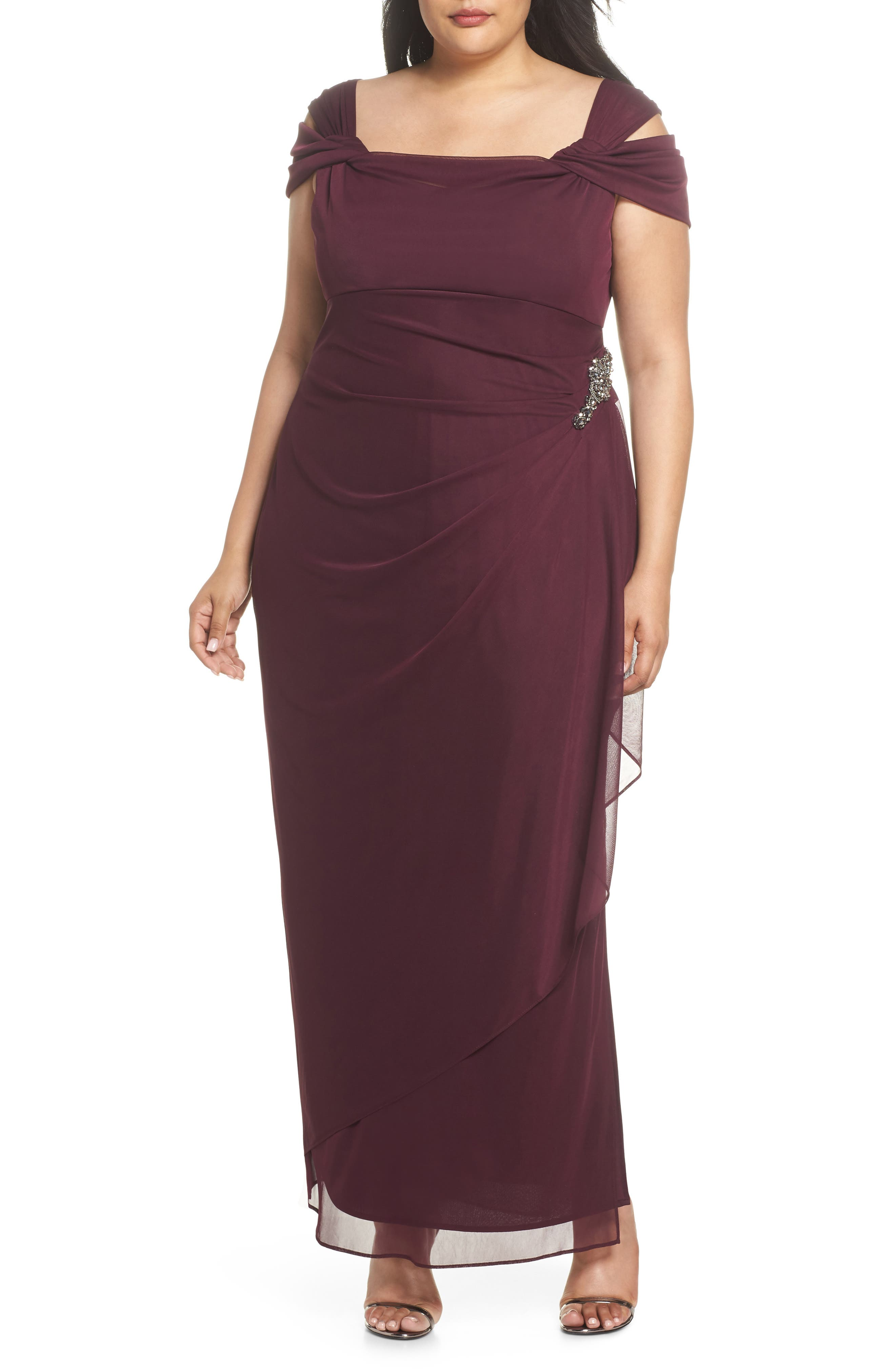 ALEX EVENINGS,                             Embellished Cold Shoulder Gown,                             Main thumbnail 1, color,                             WINE