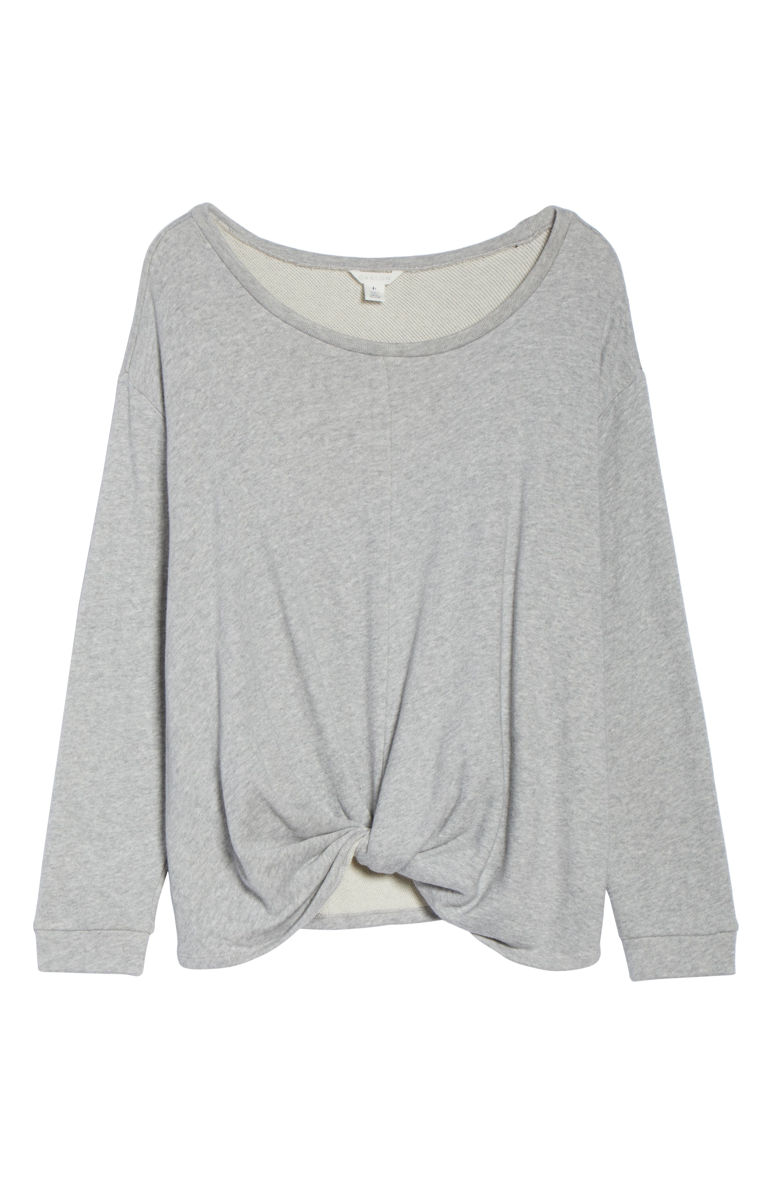 Twist Front Sweatshirt,                             Alternate thumbnail 6, color,                             GREY HEATHER