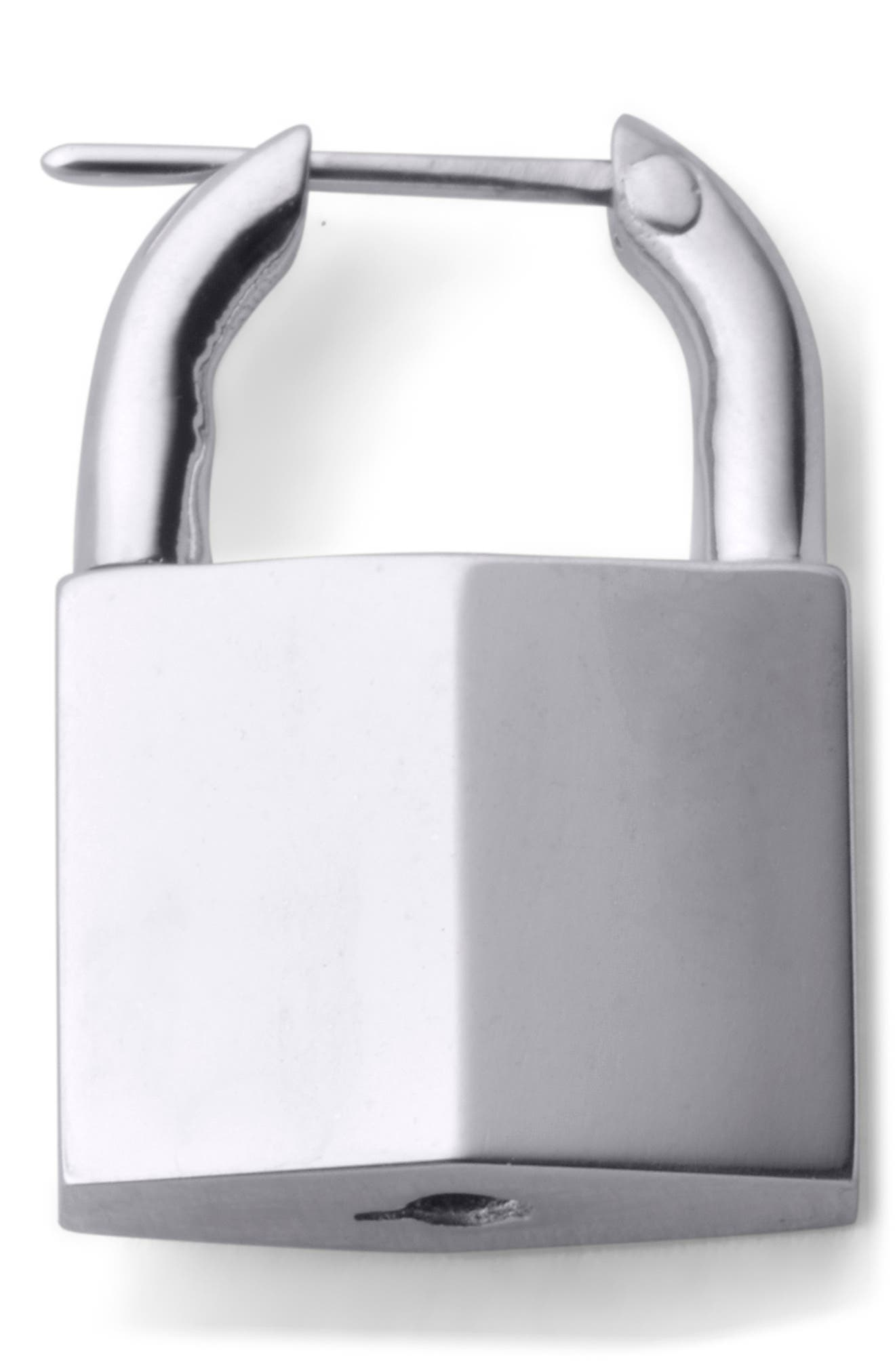 Small Padlock Earring,                         Main,                         color, RHODIUM STERLING SILVER
