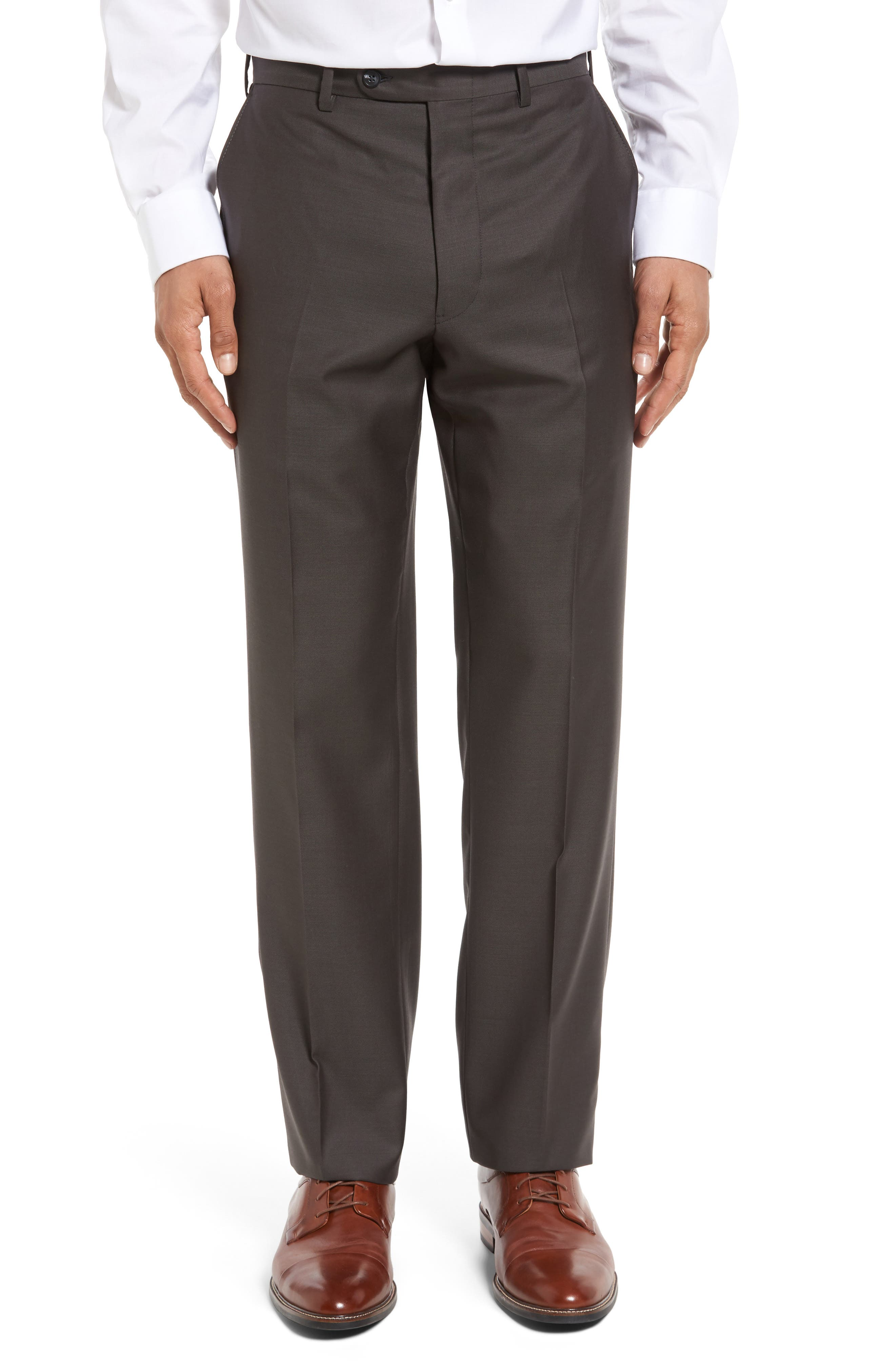 Flat Front Worsted Wool Trousers,                             Alternate thumbnail 18, color,