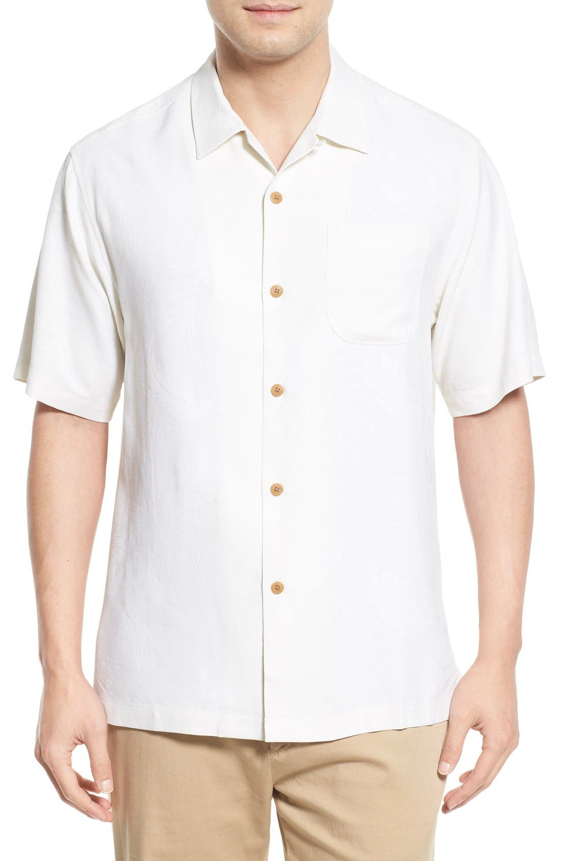 Rio Fronds Short Sleeve Silk Sport Shirt,                             Main thumbnail 3, color,