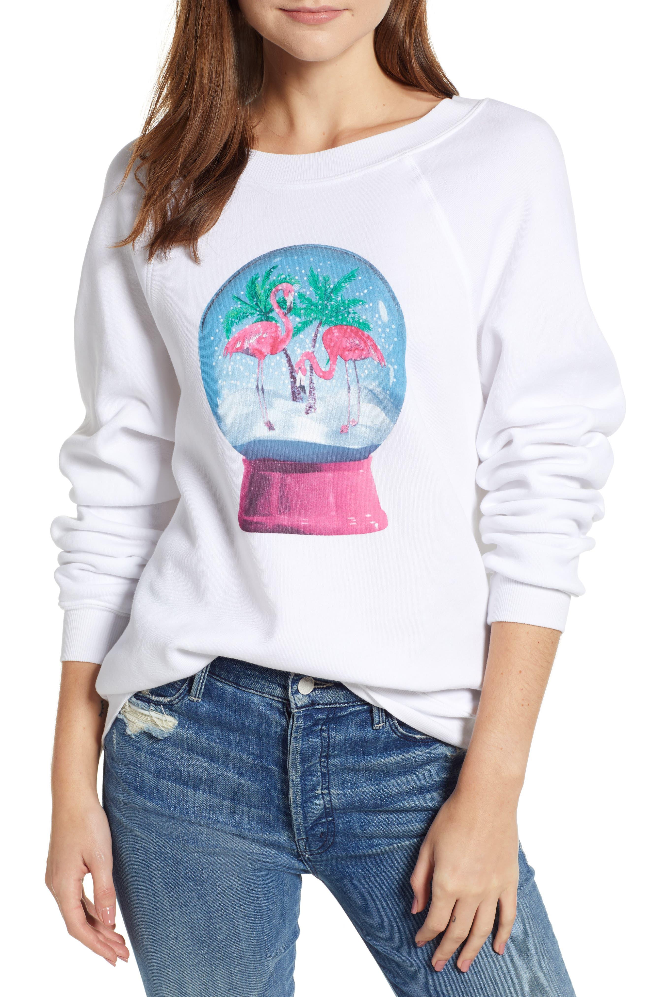 Snowy Tropics Sommers Sweatshirt,                             Main thumbnail 1, color,                             CLEAN WHITE