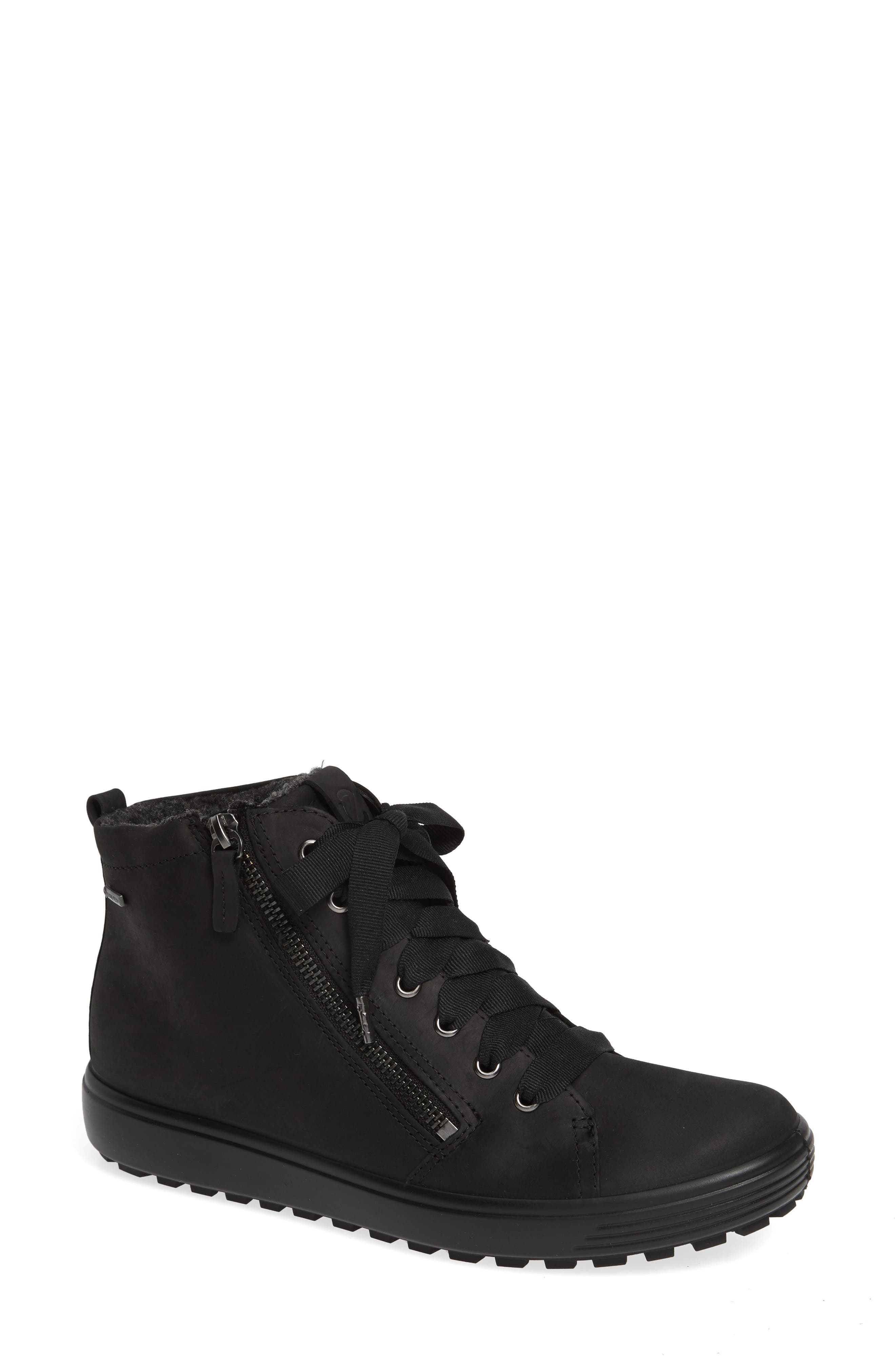 ECCO Soft 7 Tred Gore-Tex<sup>®</sup> Waterproof Bootie, Main, color, BLACK OIL NUBUCK LEATHER