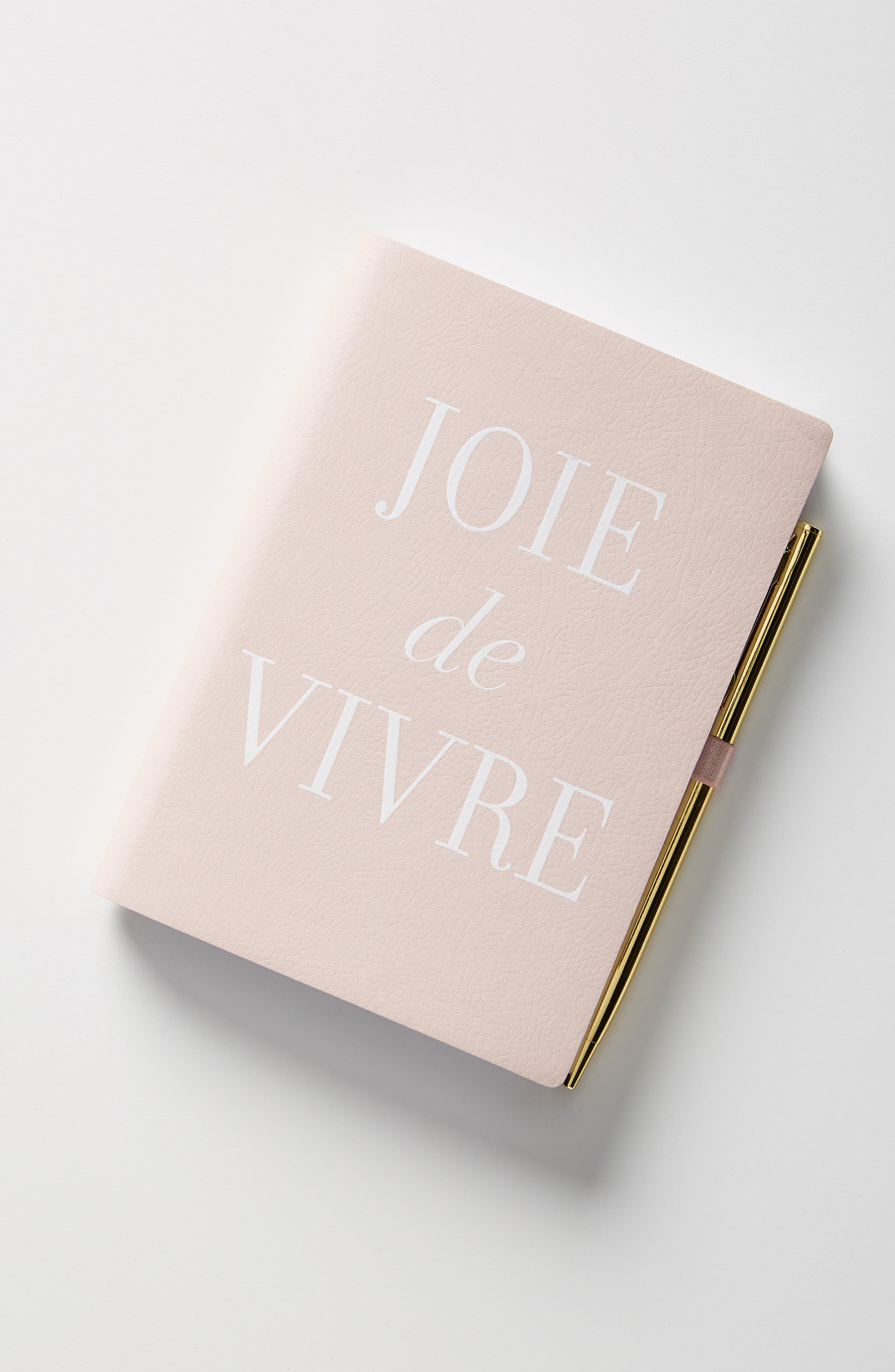 ANTHROPOLOGIE Joie de Vivre Journal, Main, color, PINK