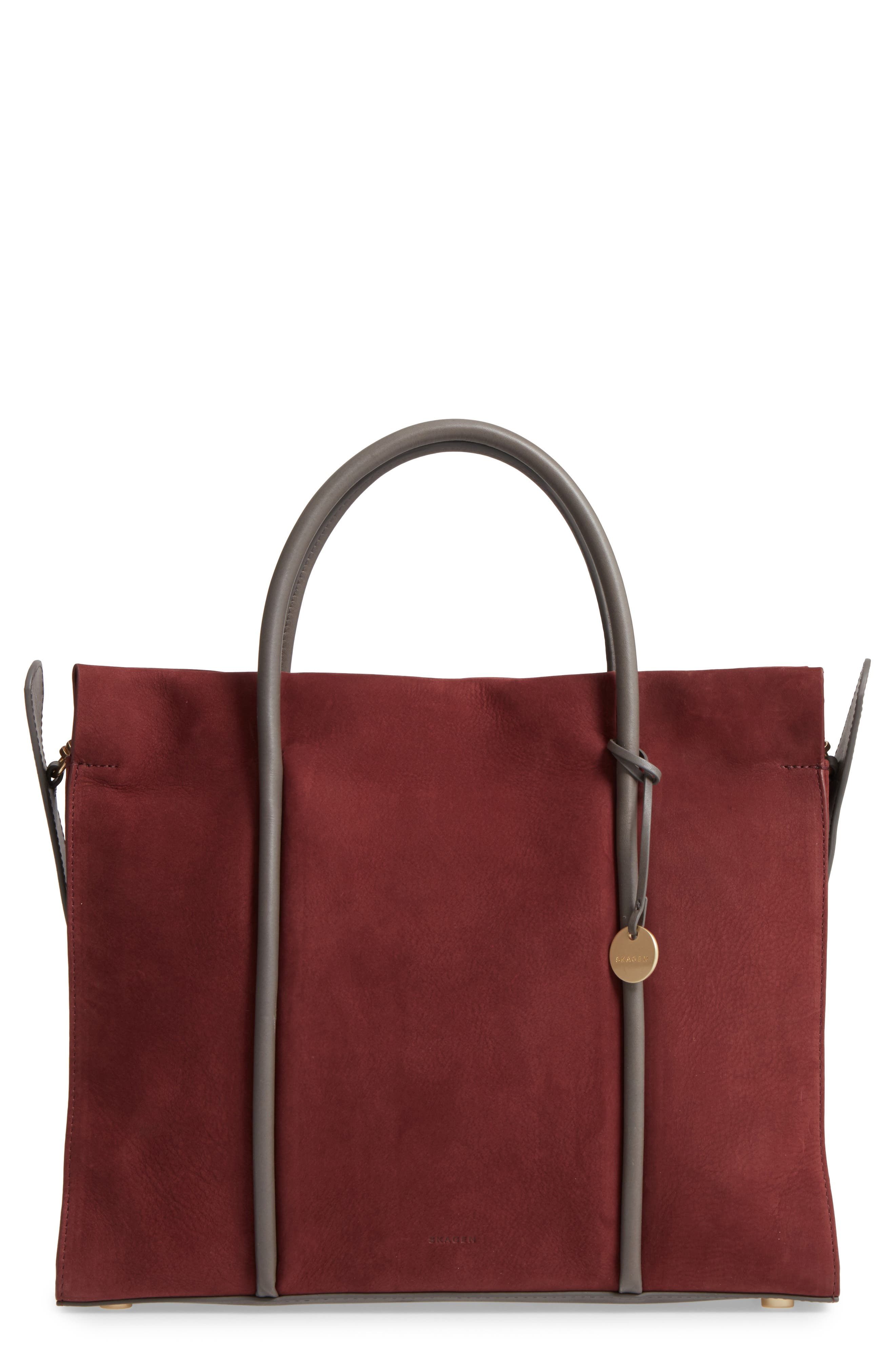 Katryn Recessed Nubuck Leather Satchel,                             Main thumbnail 1, color,                             603