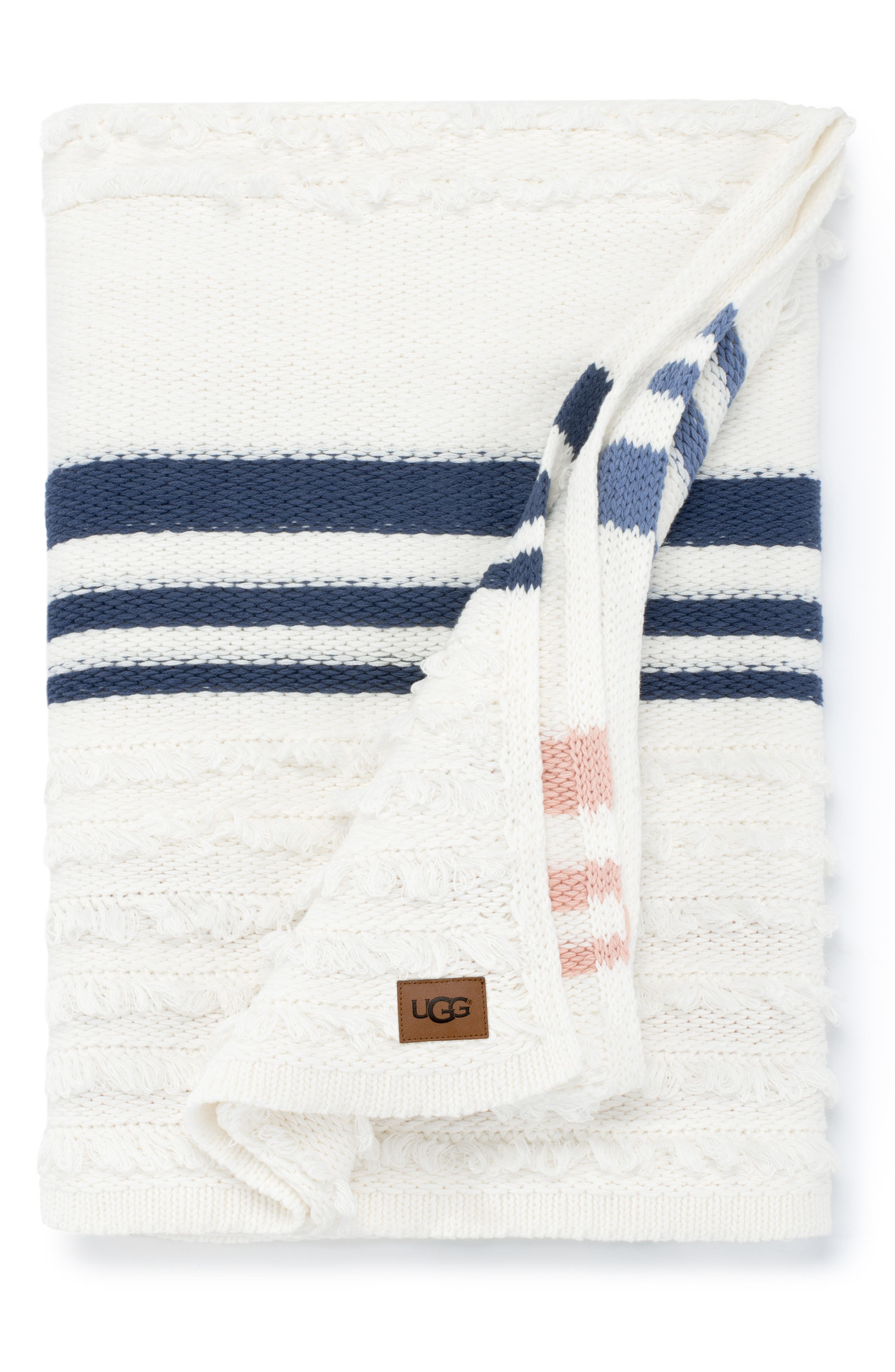 UGG<SUP>®</SUP> Solana Stripe Throw Blanket, Main, color, SNOW MULTI STRIPE
