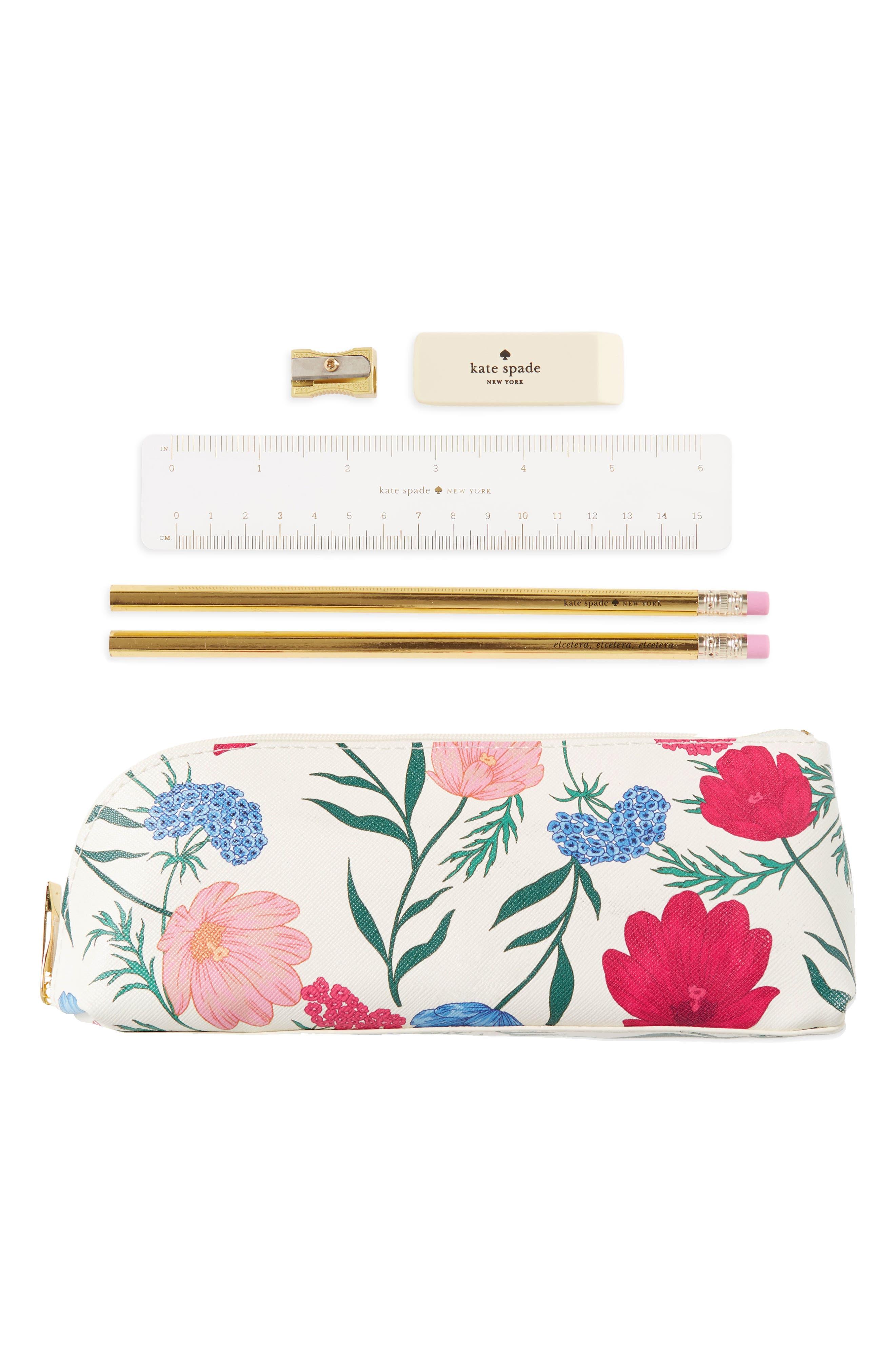 blossom faux leather pencil case,                         Main,                         color, 650