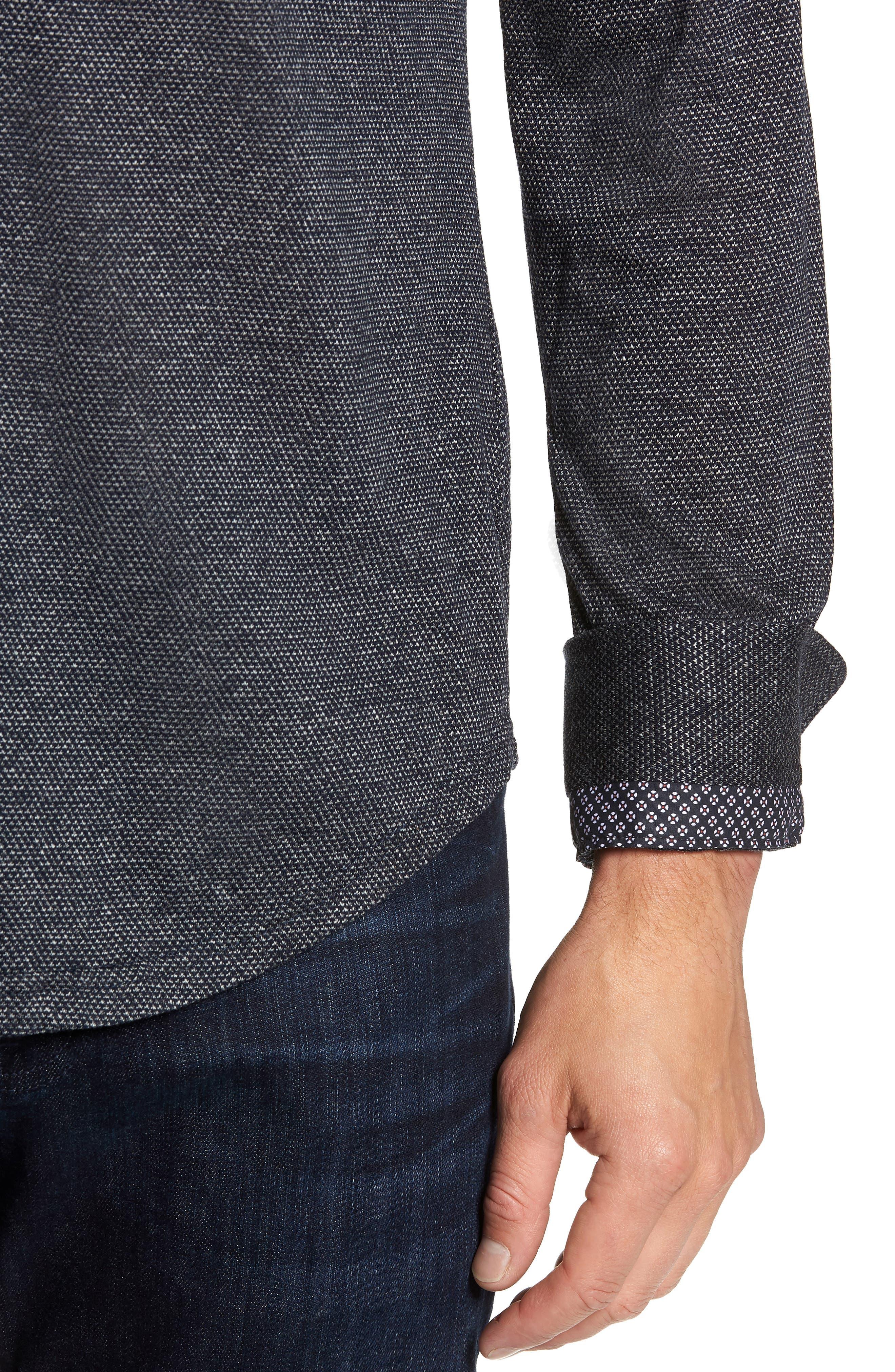 Trim Fit Jacquard Knit Sport Shirt,                             Alternate thumbnail 2, color,                             BLACK