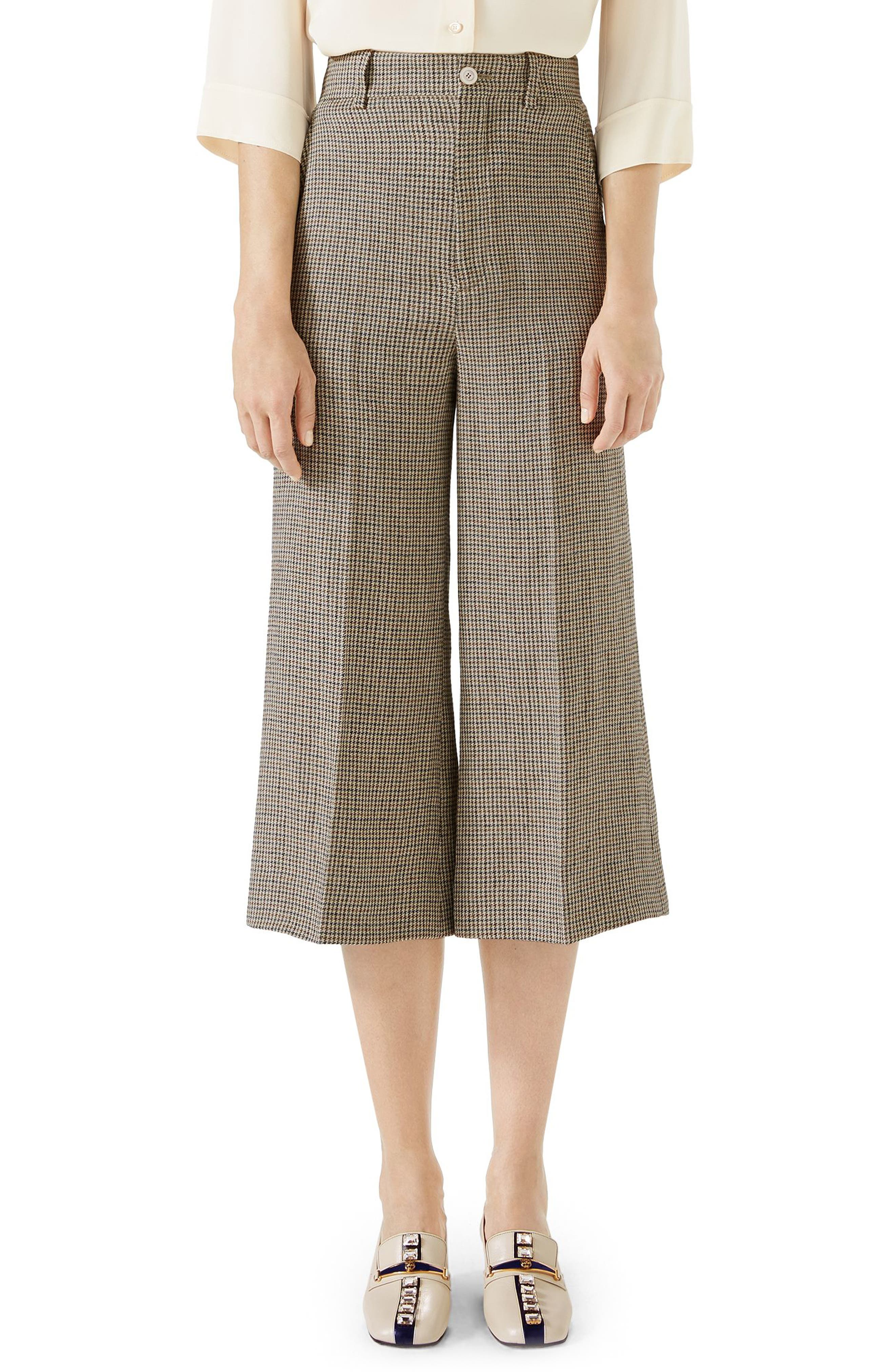 Houndstooth Wide Leg Crop Linen Pants,                             Main thumbnail 1, color,                             BEIGE/ BRUN DEGARANCE