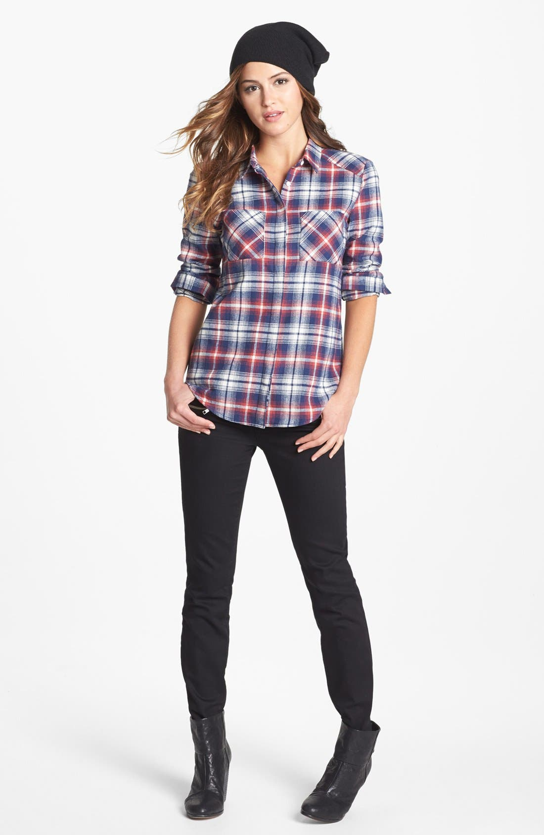 OLIVE & OAK,                             Plaid Flannel Shirt,                             Main thumbnail 1, color,                             641