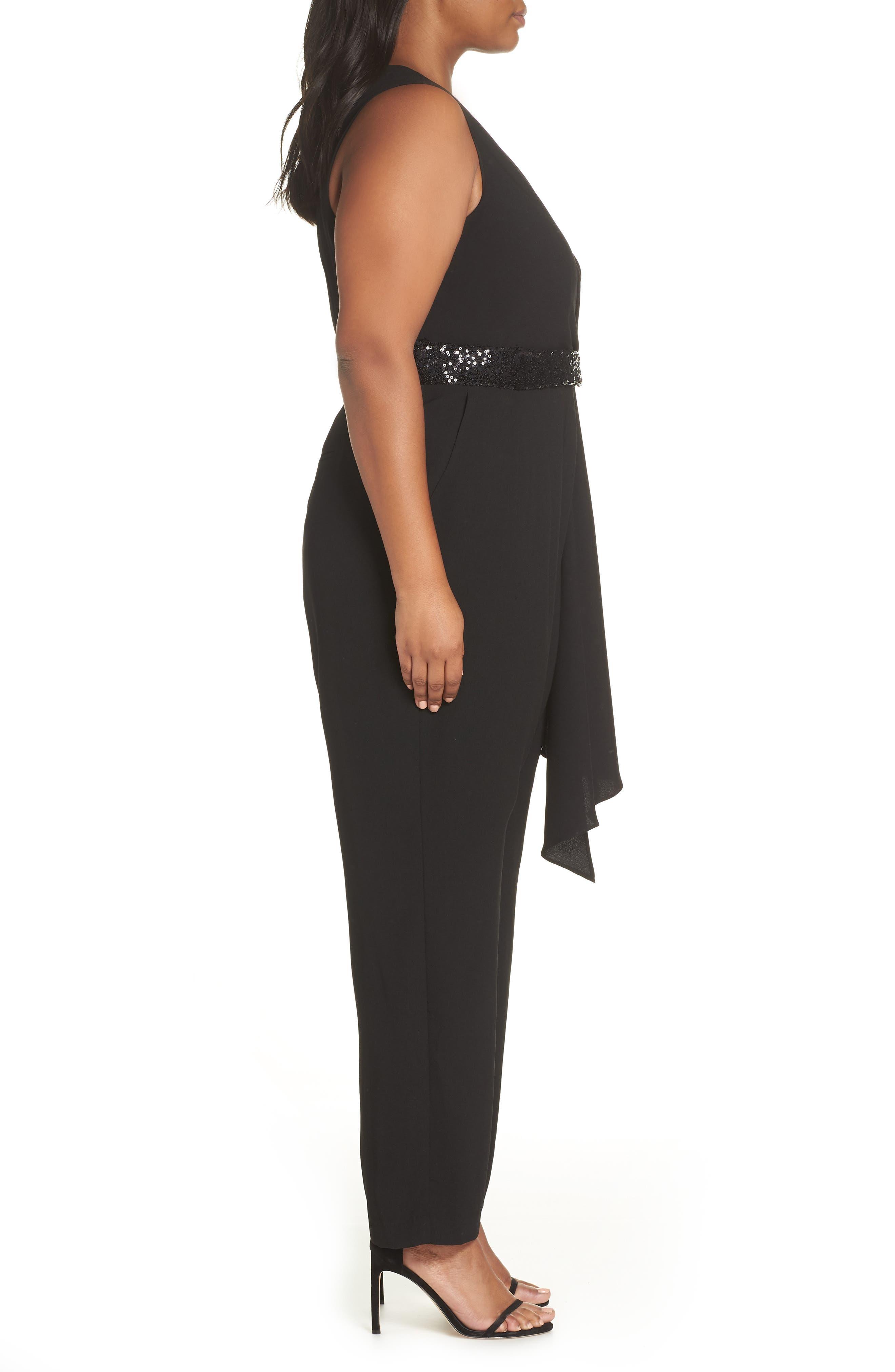 Cascading Sequin Tie Jumpsuit,                             Alternate thumbnail 3, color,                             BLACK