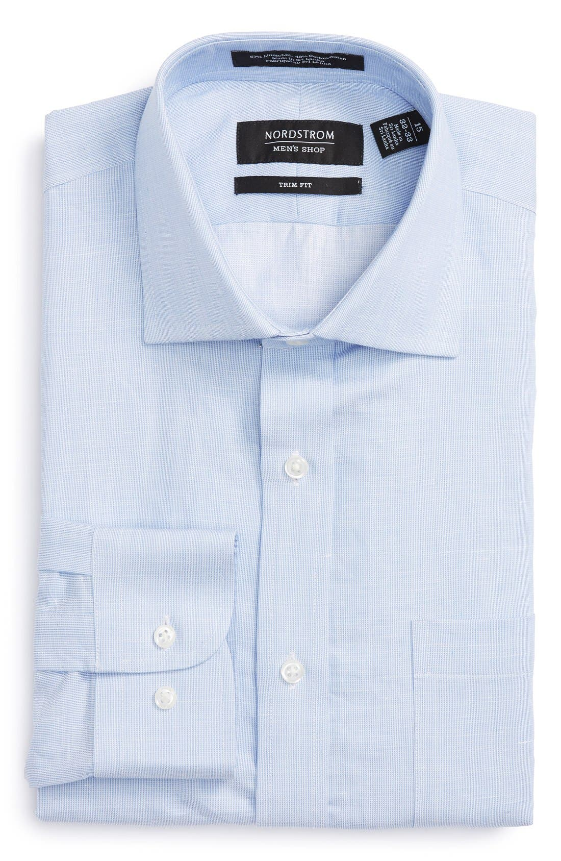 Trim Fit Solid Linen & Cotton Dress Shirt,                             Main thumbnail 8, color,