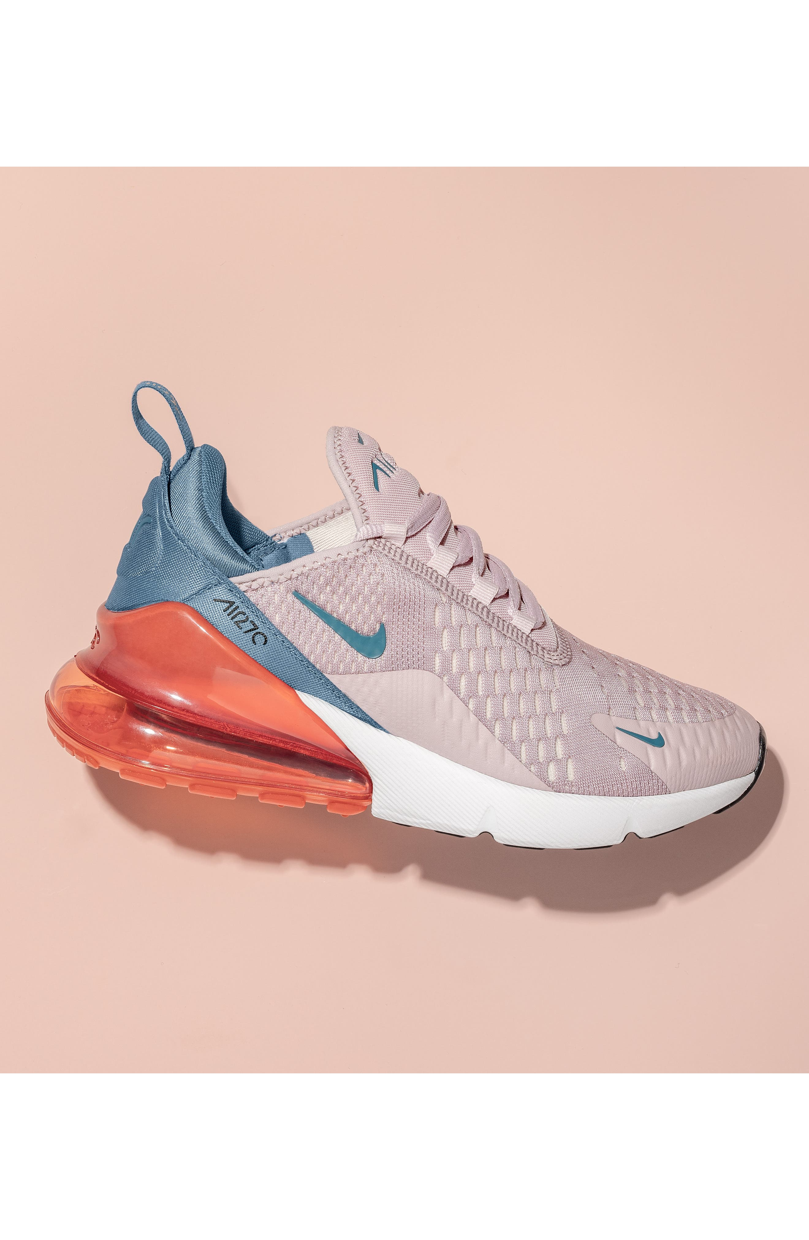 Air Max 270 Premium Sneaker,                             Alternate thumbnail 8, color,                             BLACK/ IGLOO TURQUOISE WHITE
