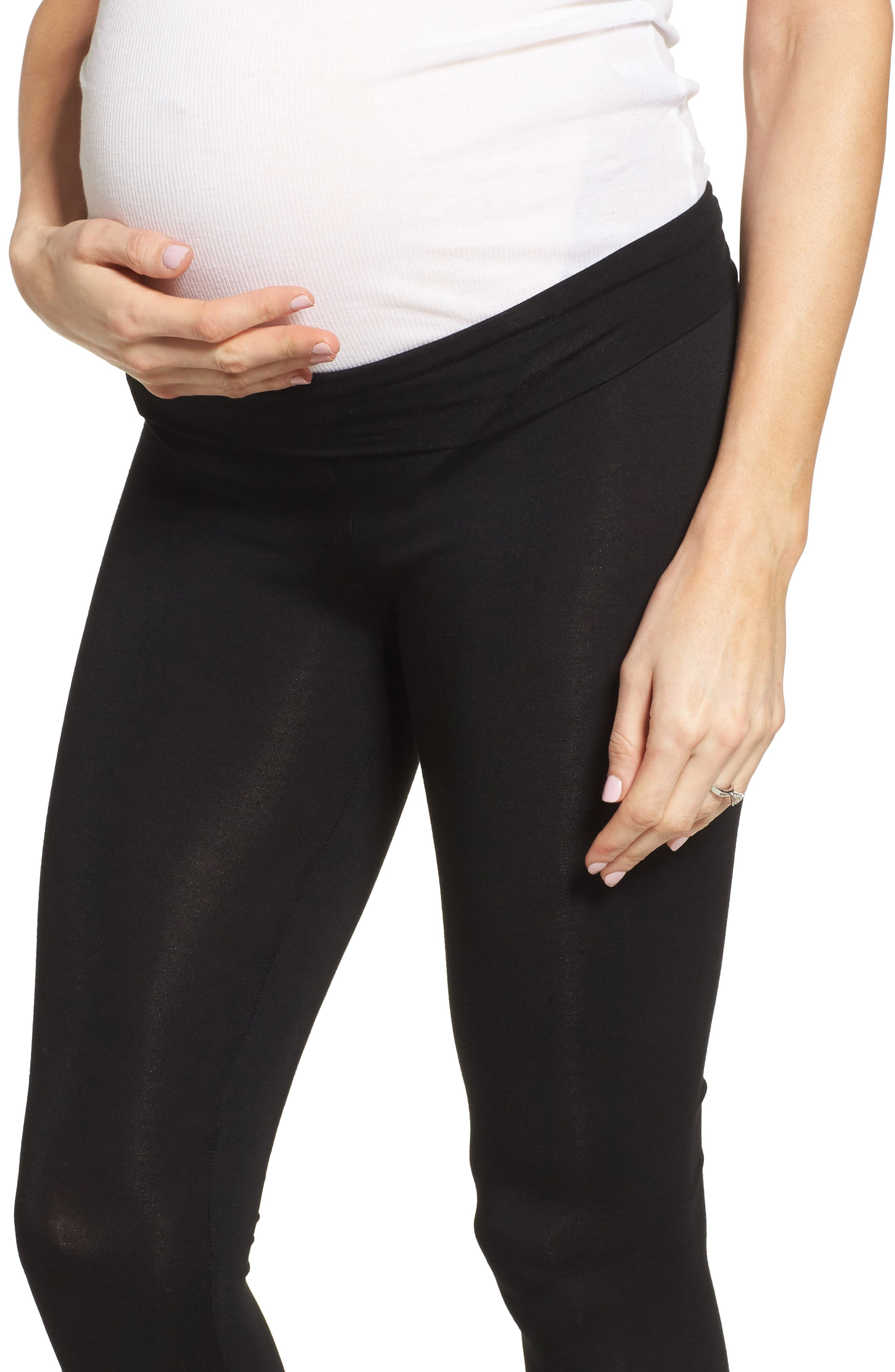 Foldover Waistband Maternity Leggings,                             Alternate thumbnail 4, color,                             BLACK