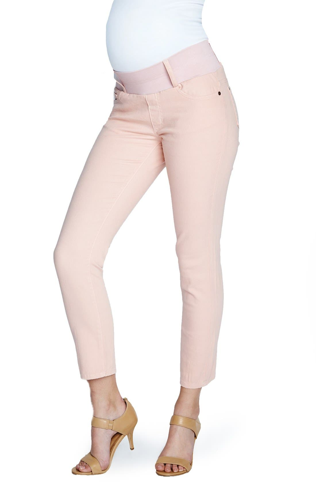Maternity Skinny Ankle Stretch Jeans,                         Main,                         color, TAUPE