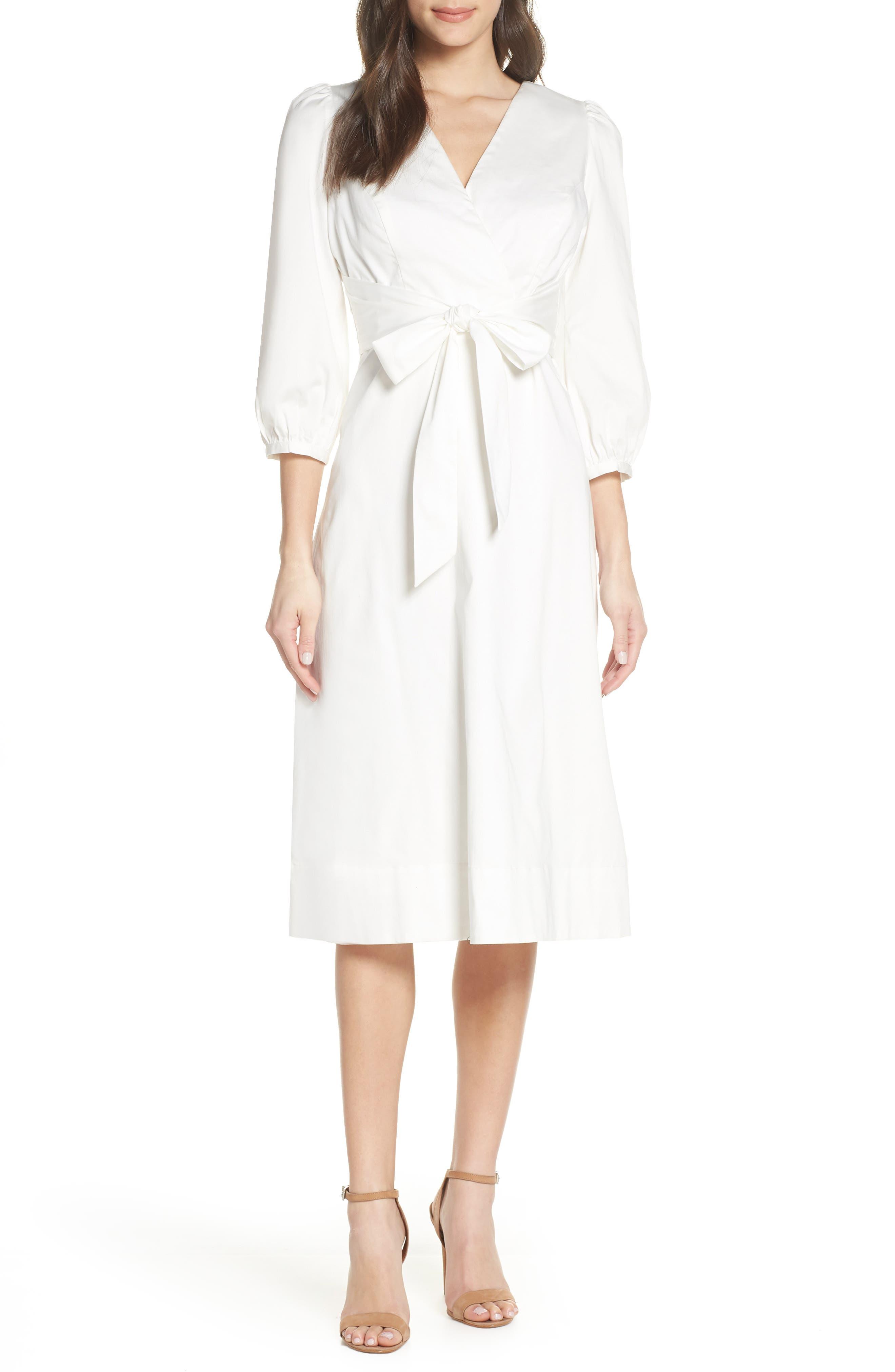 Chelsea28 Knot Waist Poplin Midi Dress, White