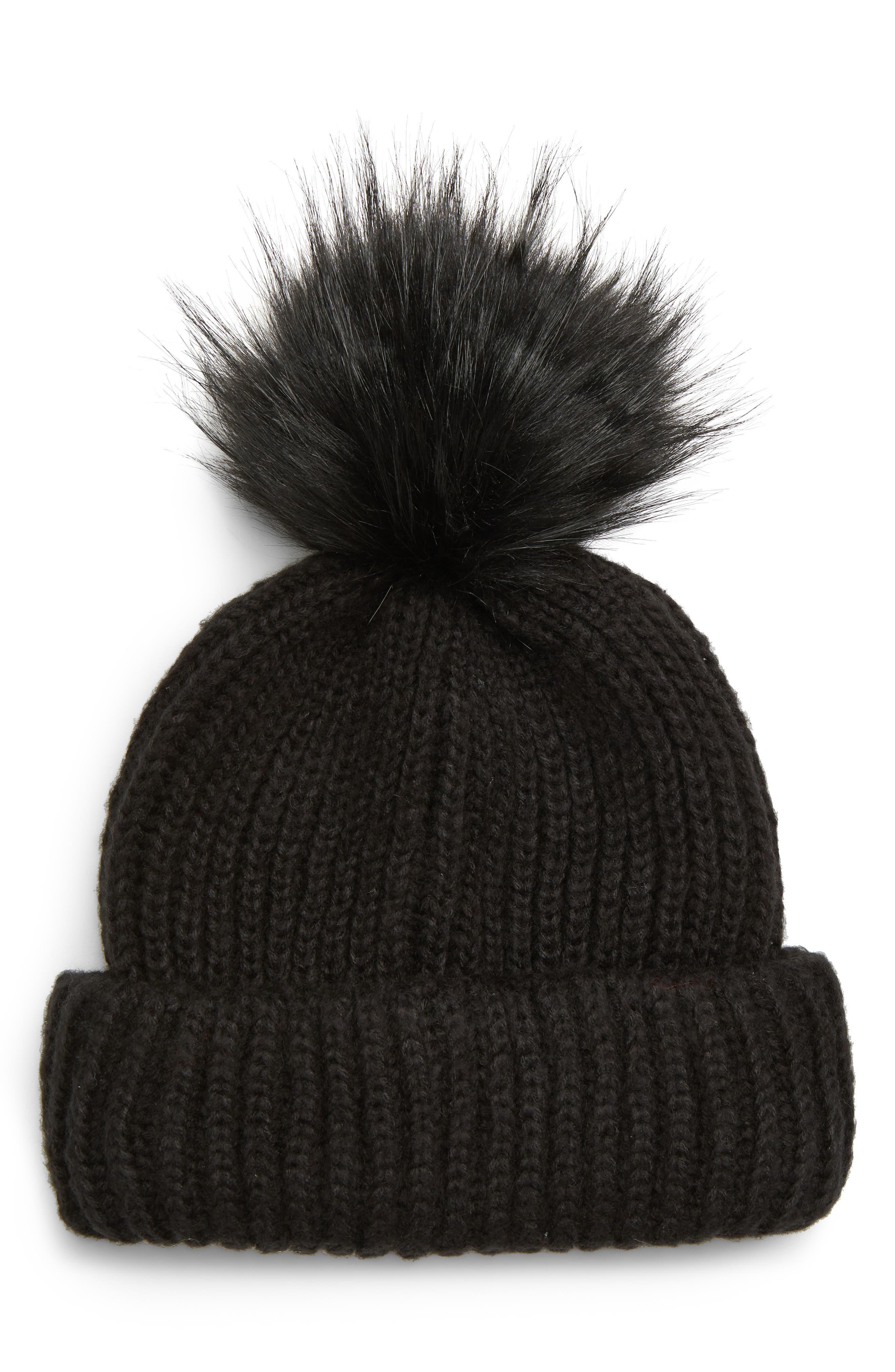TOPSHOP,                             Faux Fur Pompom Beanie,                             Main thumbnail 1, color,                             BLACK