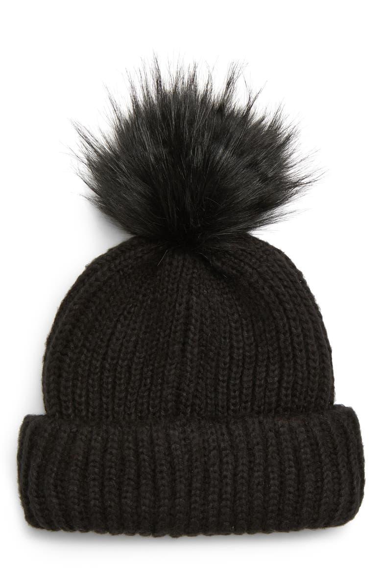 Topshop Faux Fur Pompom Beanie  f60730f3017
