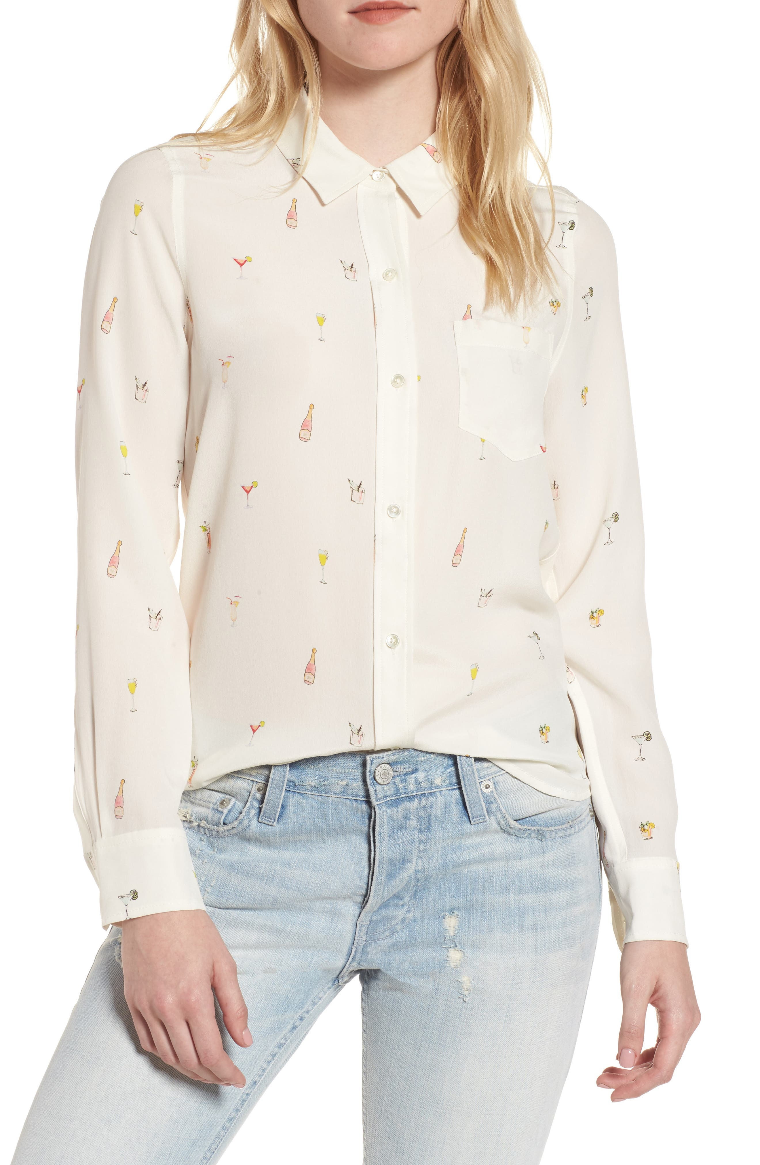 Kate Print Silk Blouse,                         Main,                         color, HAPPY HOUR