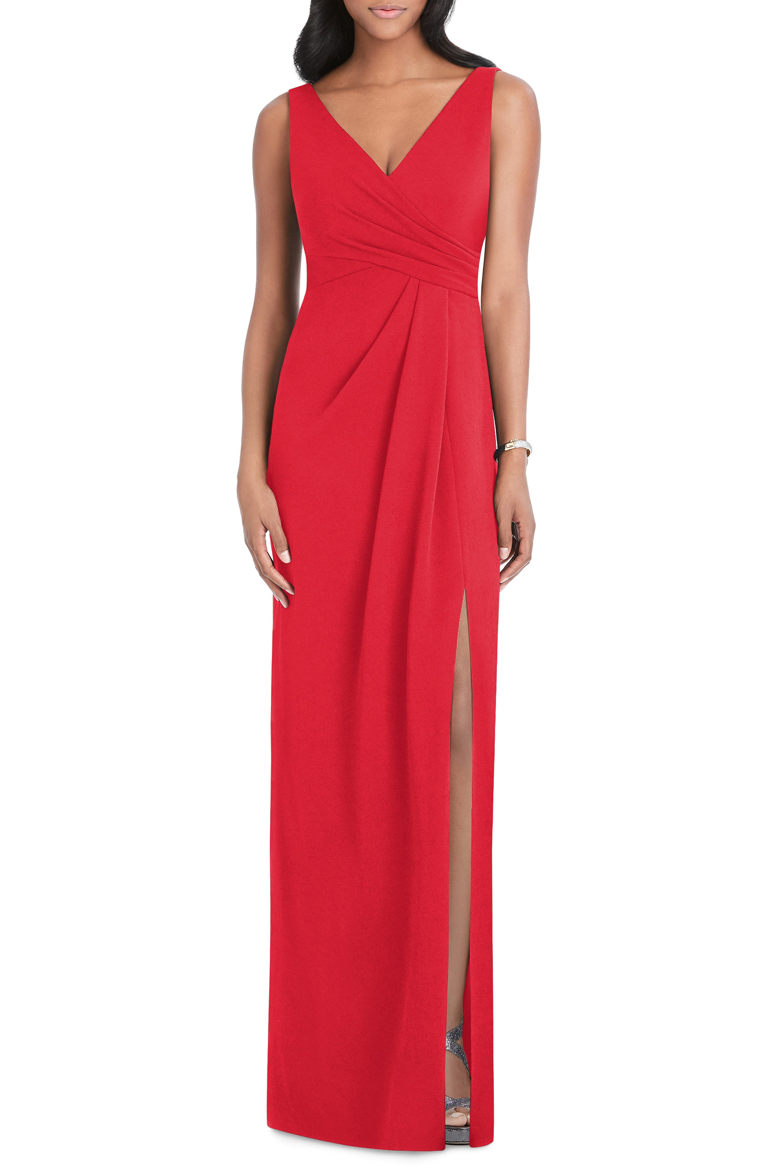 After Six Pleated Surplice Stretch Crepe Gown, Red