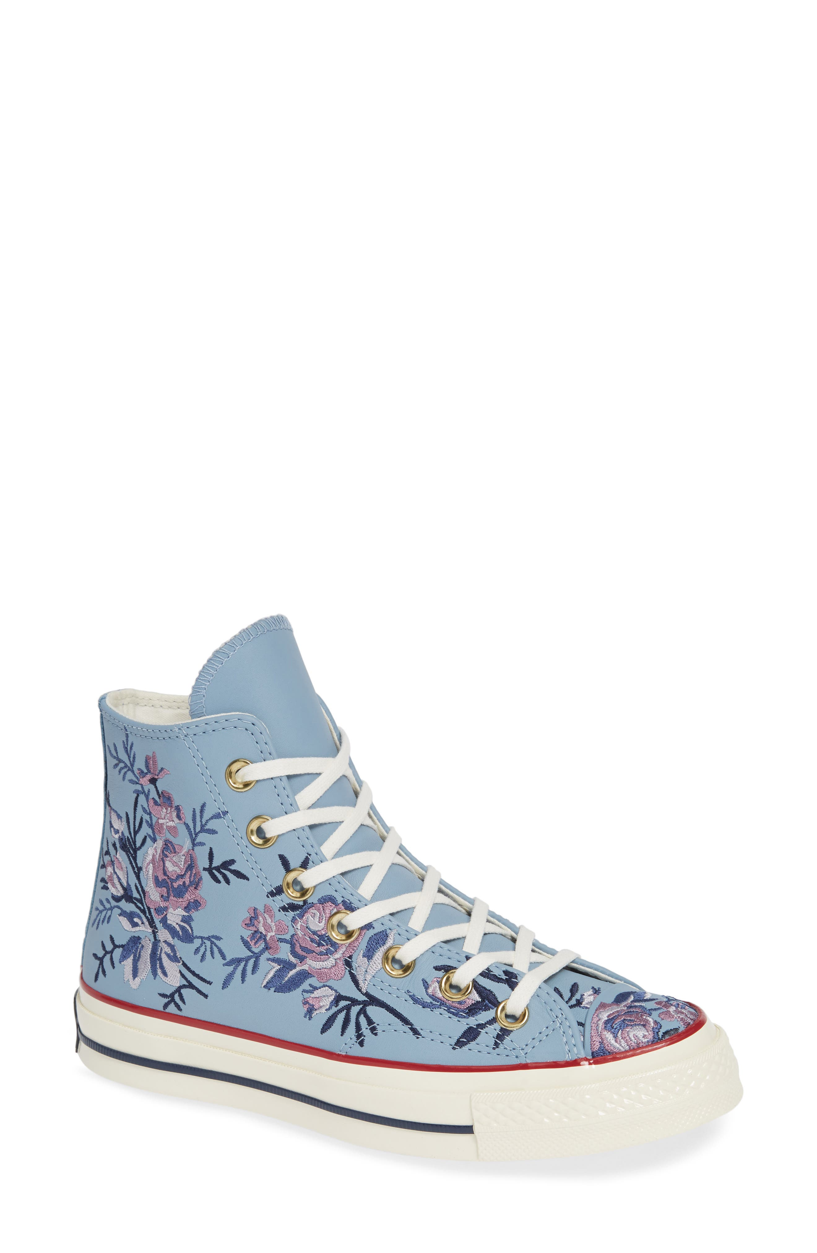 Chuck Taylor<sup>®</sup> All Star<sup>®</sup> Parkway Floral 70 High Top Sneaker,                         Main,                         color, WASHED DENIM LEATHER
