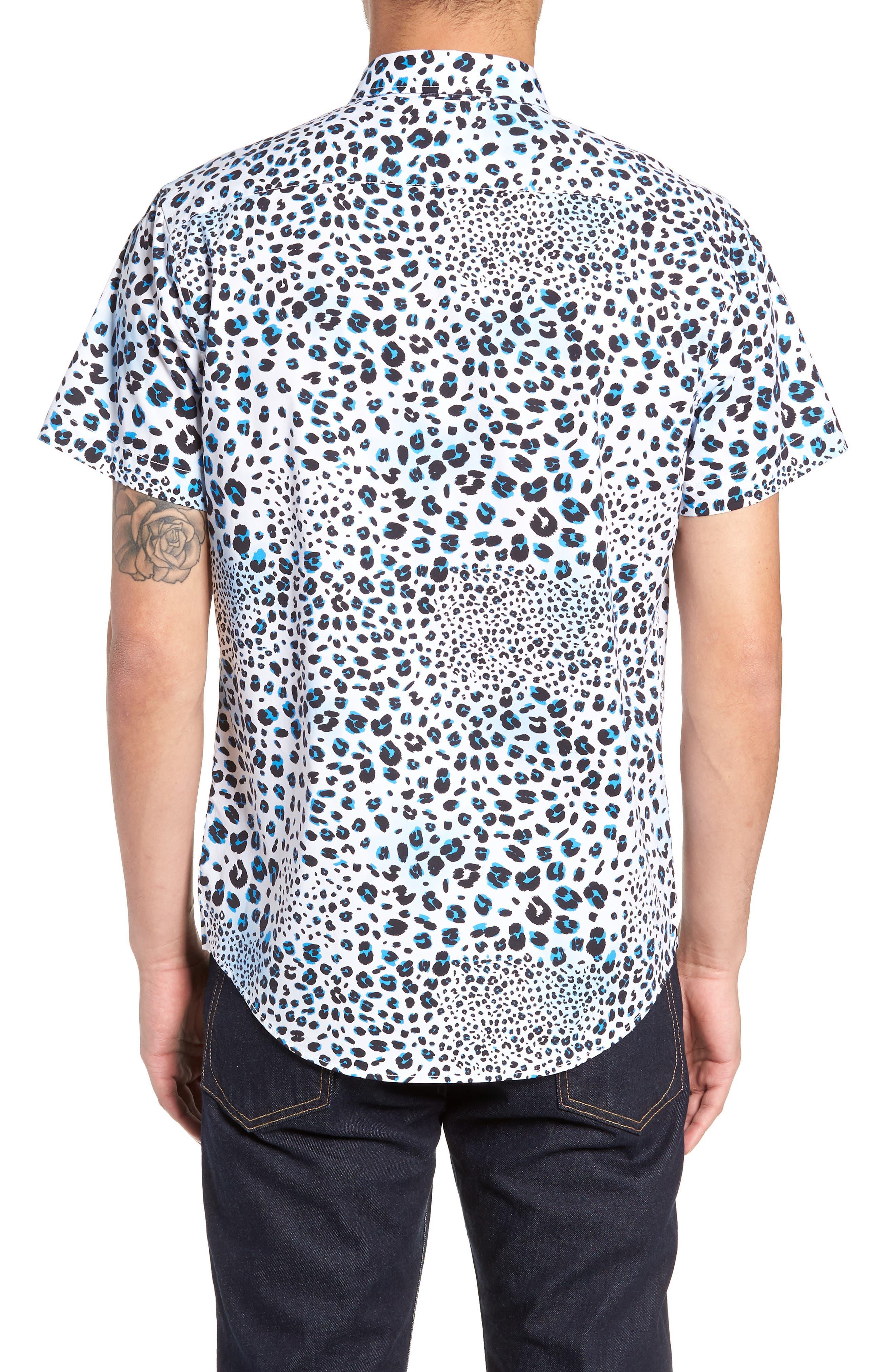 Print Sport Shirt,                             Alternate thumbnail 2, color,                             WHITE BLUE MICRO LEOPARD