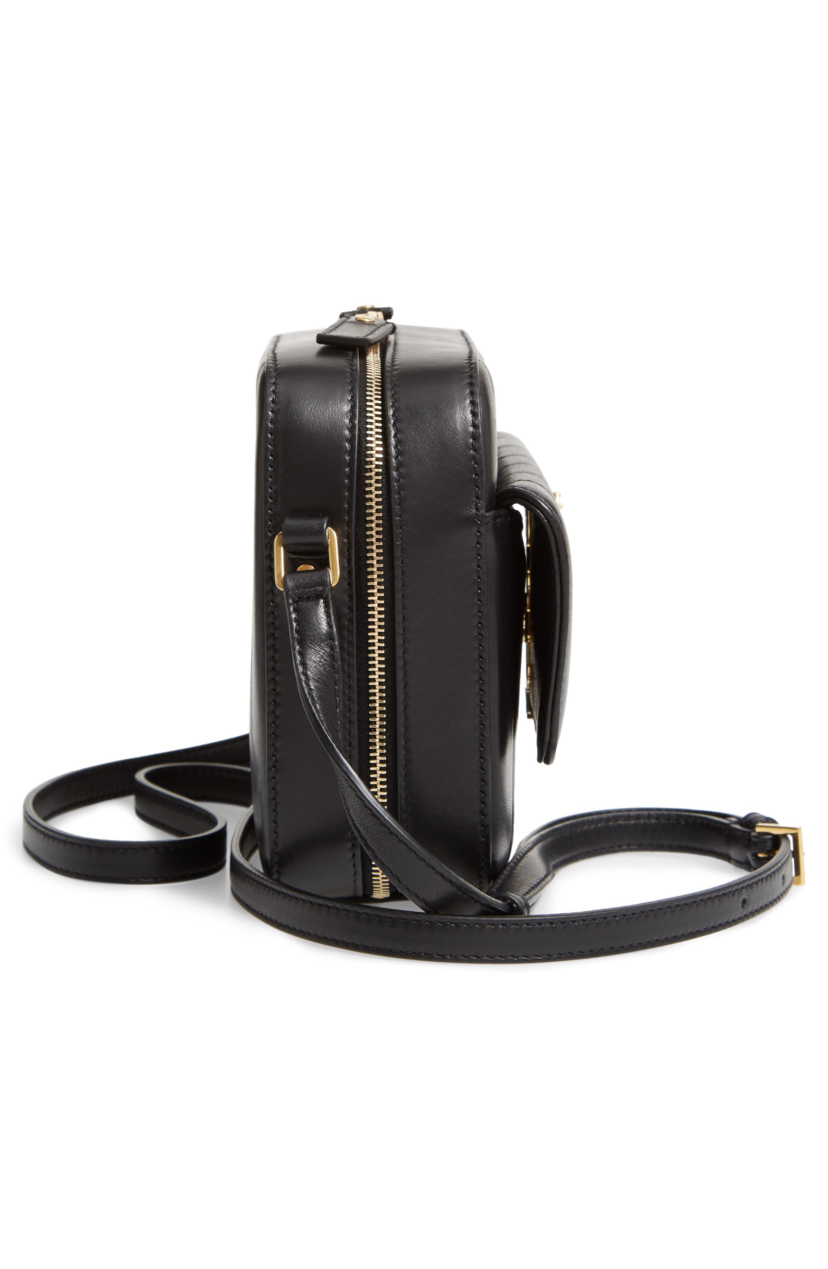 Vicky Leather Camera Bag,                             Alternate thumbnail 5, color,                             NOIR