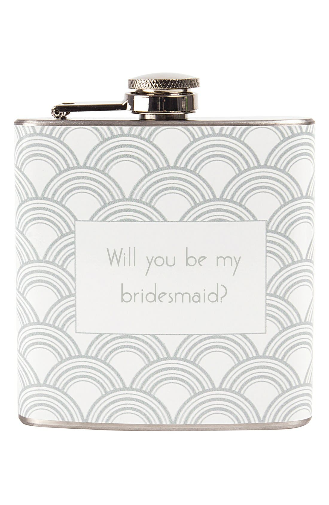 'Will You Be My Bridesmaid?' Print Flask,                             Alternate thumbnail 4, color,