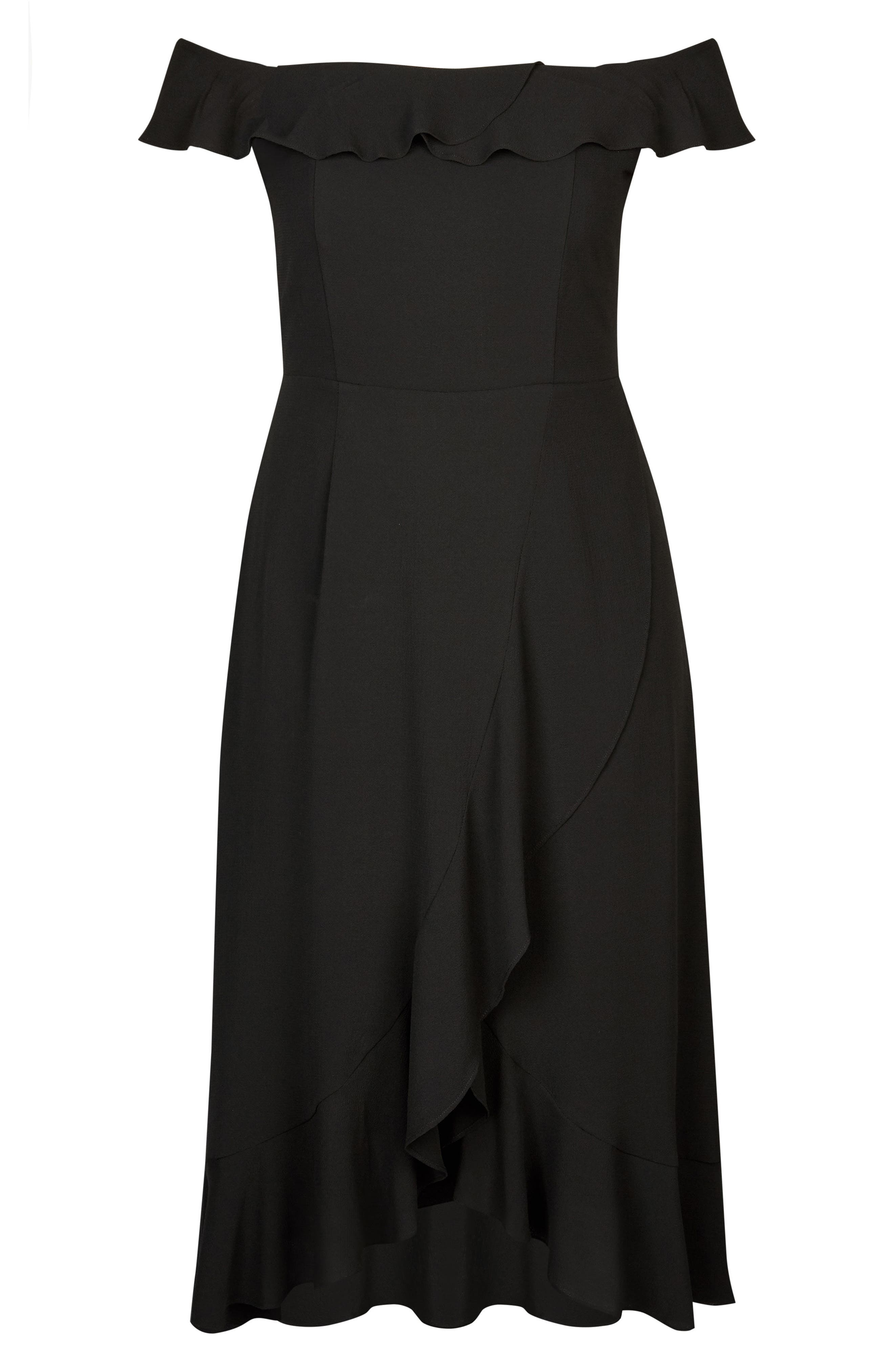 Off the Shoulder Ruffle High/Low Dress,                             Alternate thumbnail 3, color,                             BLACK