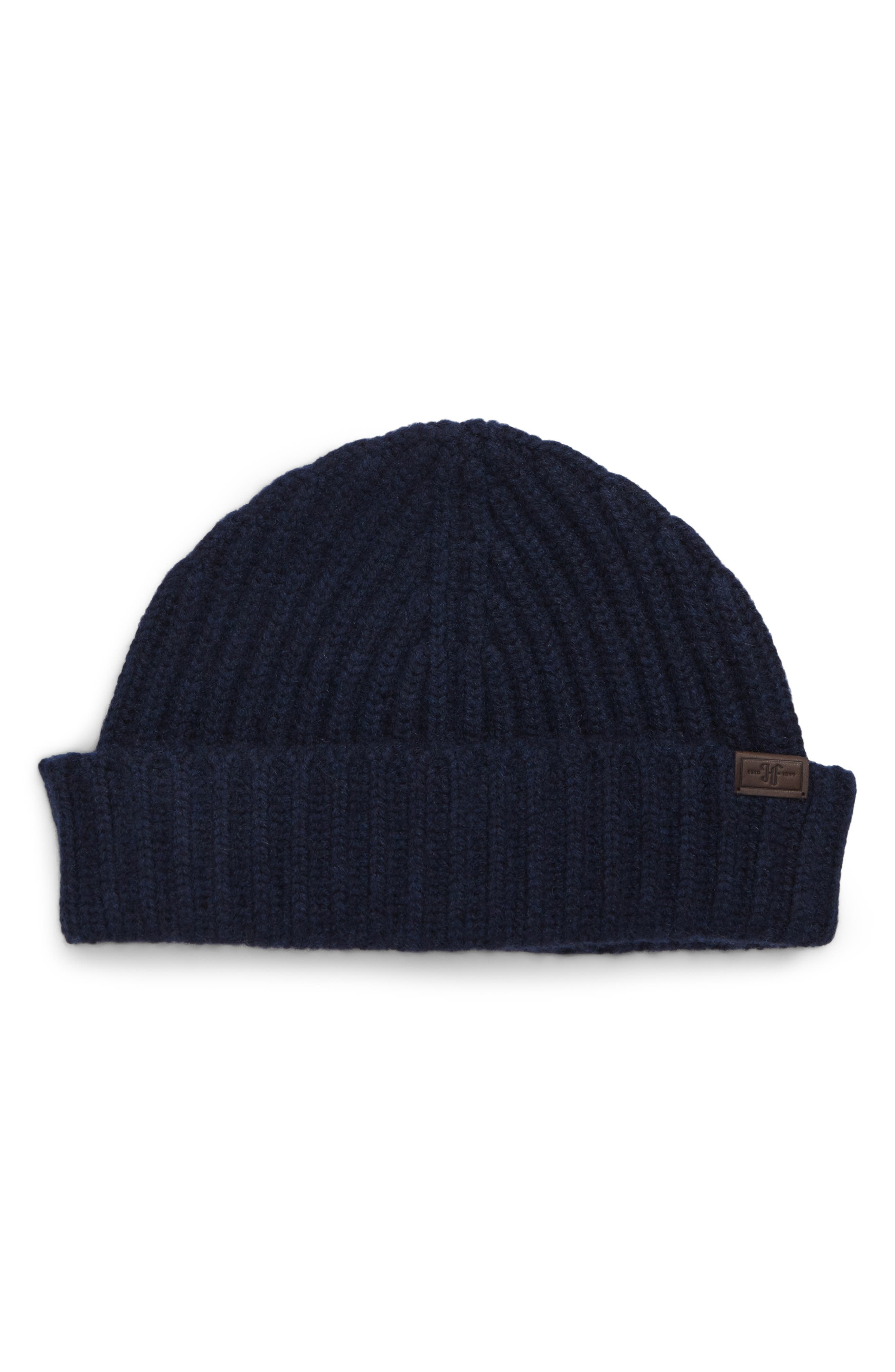 Cuffed Cashmere Beanie,                         Main,                         color, NAVY