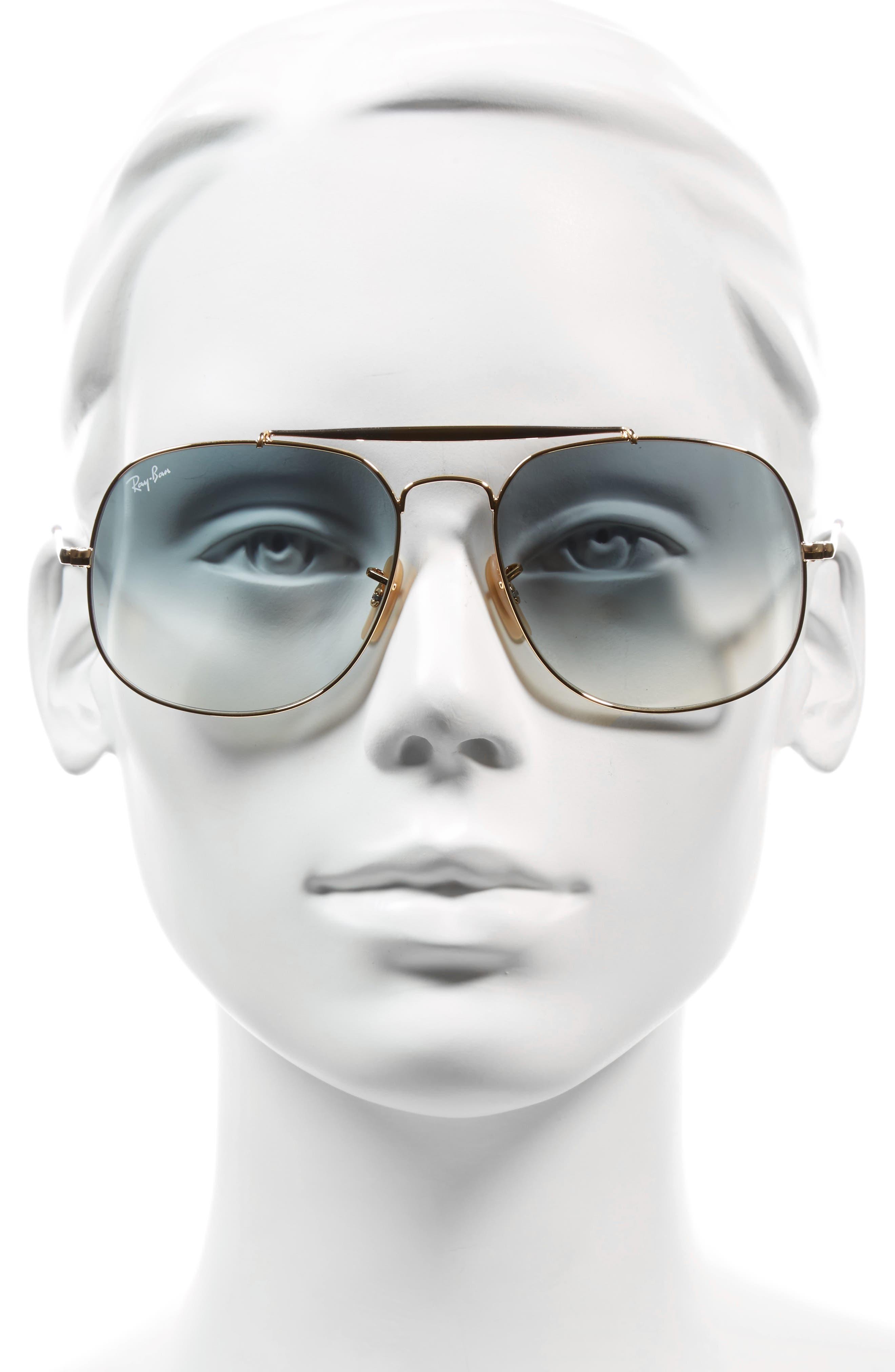 57mm Gradient Lens Square Aviator Sunglasses,                             Alternate thumbnail 3, color,