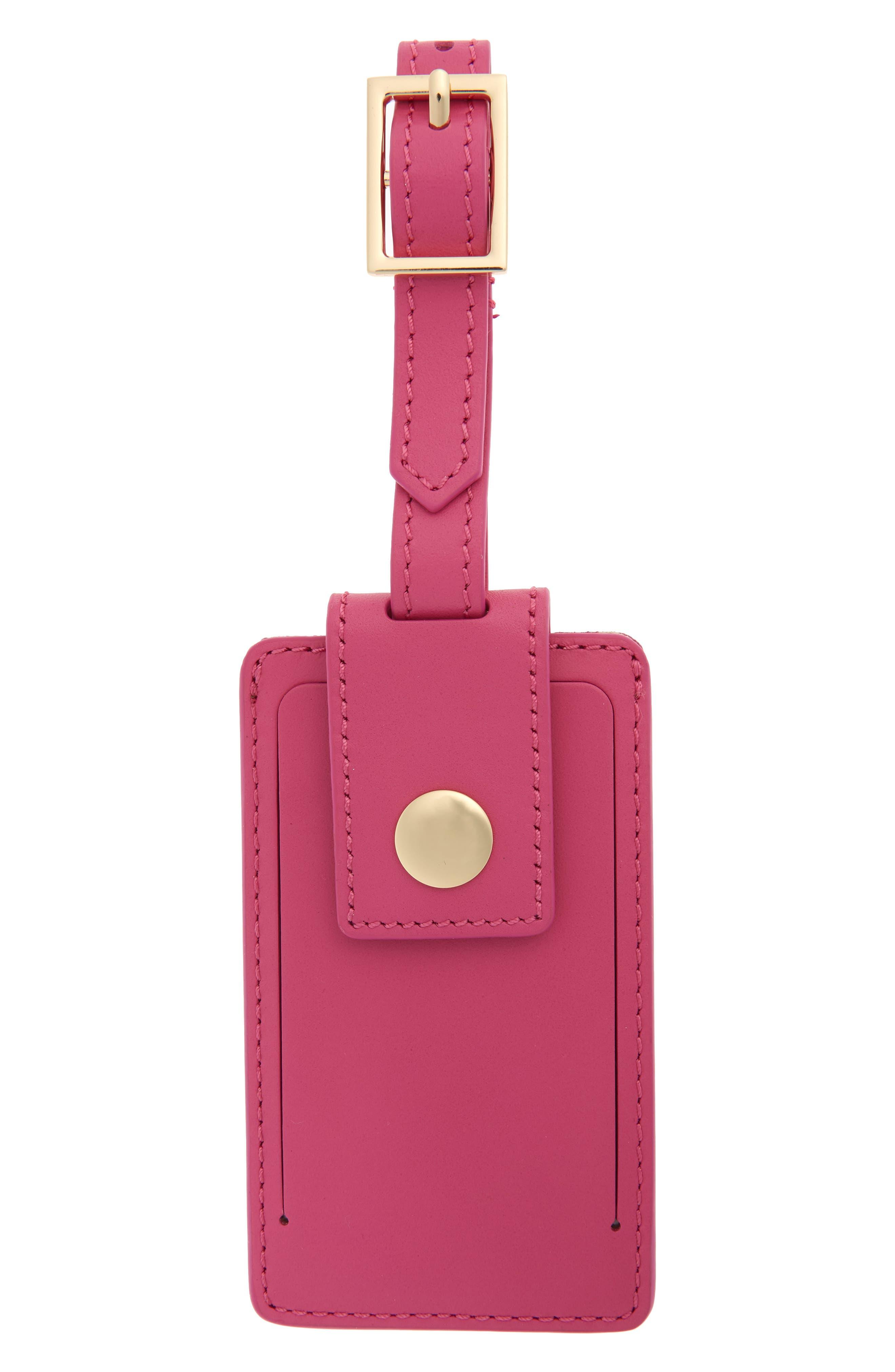 Leather Luggage Tag, Main, color, CRISP BEGONIA