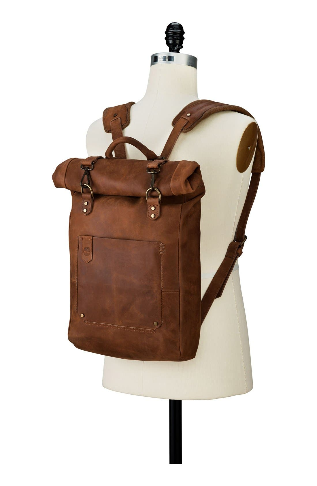 'Walnut Hill' Leather Backpack,                             Alternate thumbnail 3, color,                             BARN