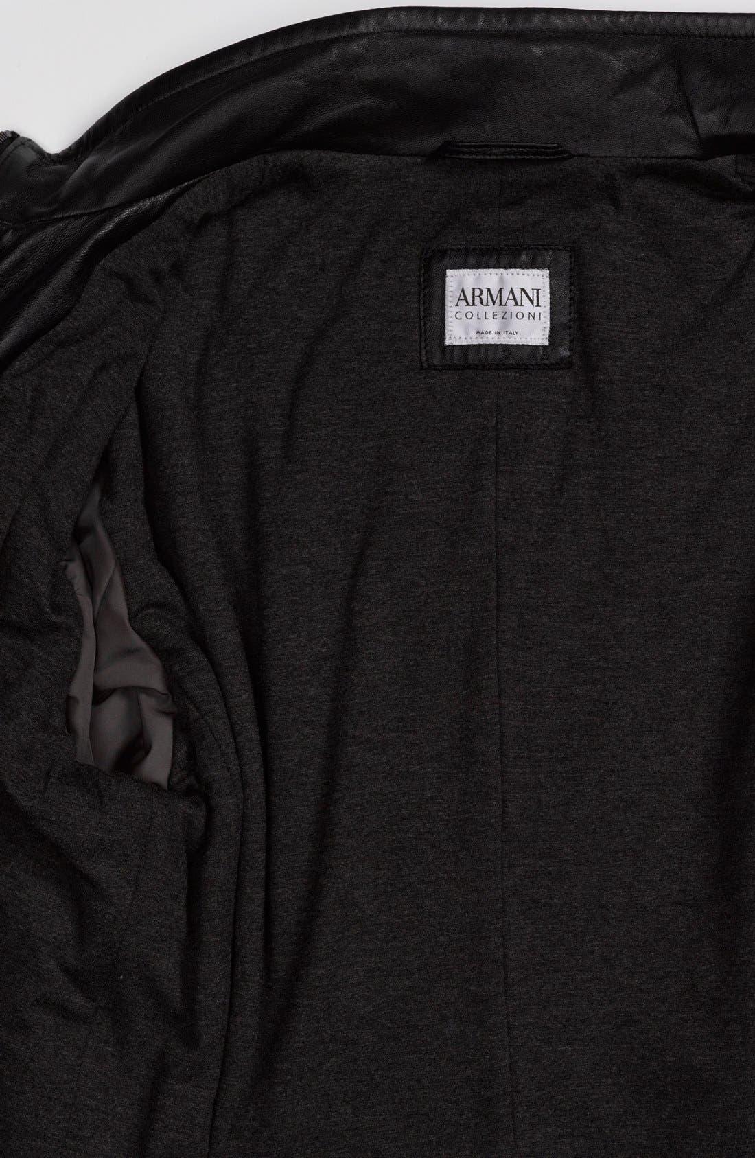 EMPORIO ARMANI,                             Armani Collezioni Blouson Leather Jacket,                             Alternate thumbnail 5, color,                             001
