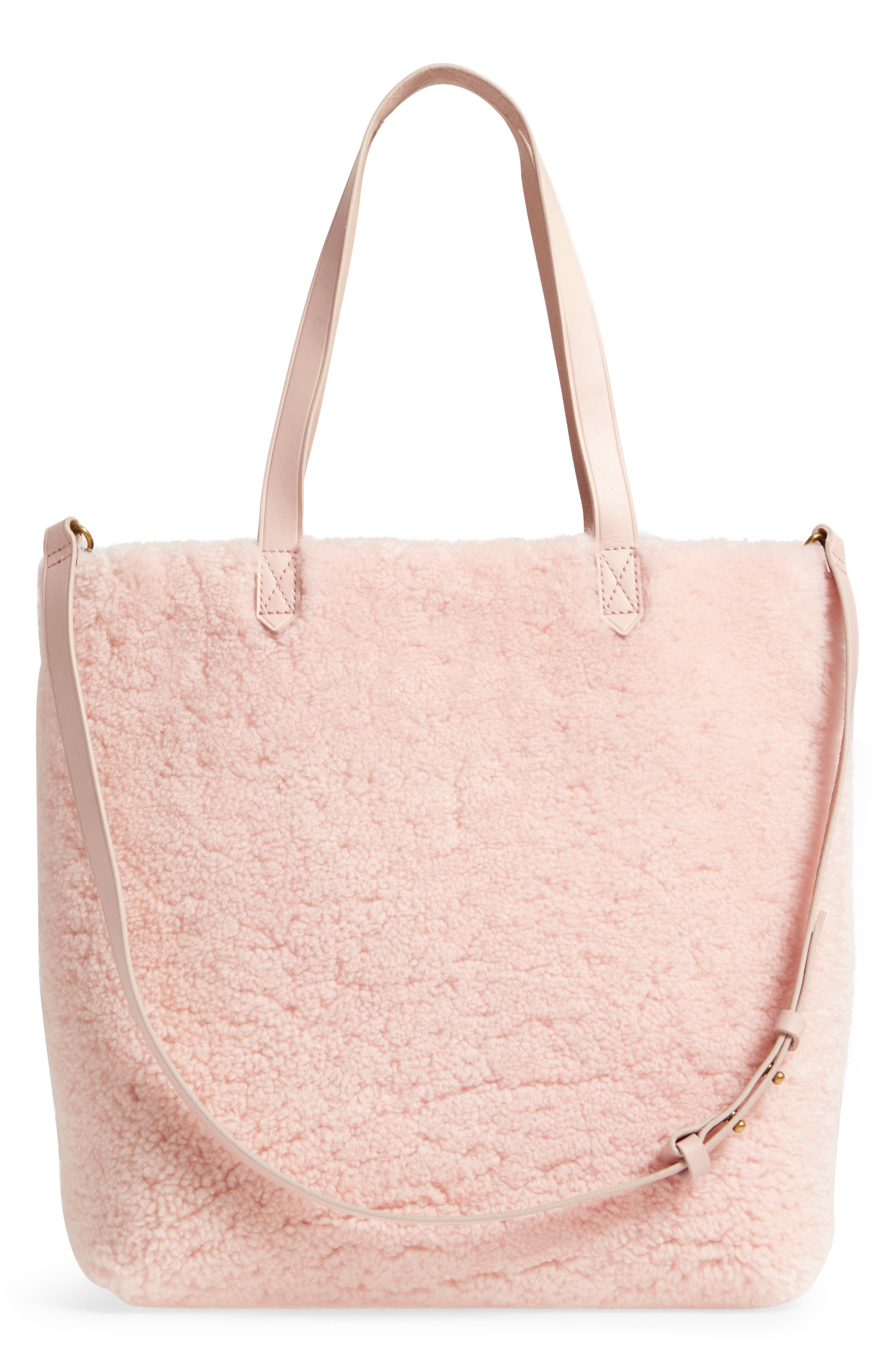 Medium Transport Genuine Shearling Tote,                             Alternate thumbnail 3, color,