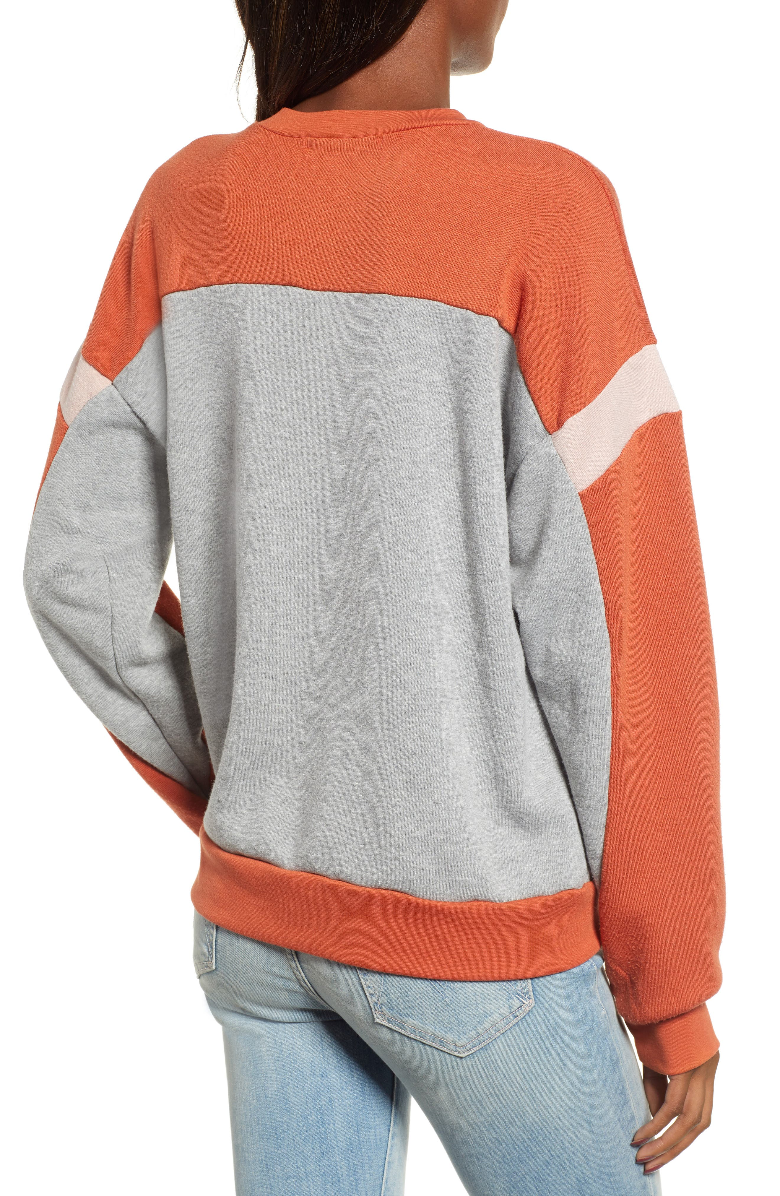 Rewind Colorblock Sweatshirt,                             Alternate thumbnail 2, color,                             HEATHER GREY/ SERRANO