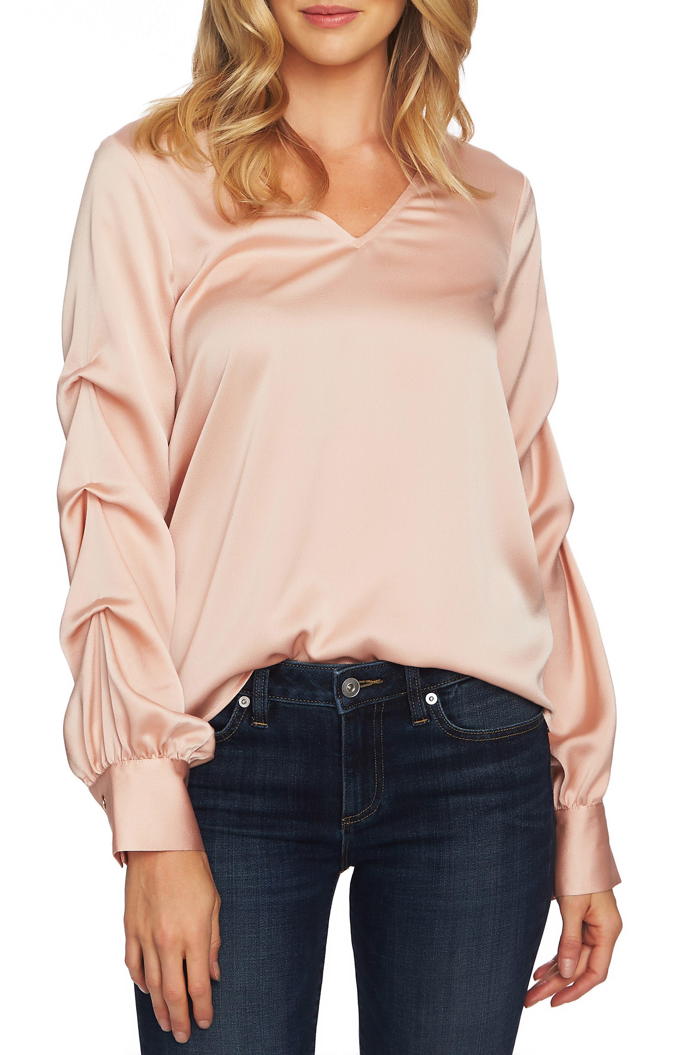 Drape Sleeve V-Neck Blouse,                             Main thumbnail 1, color,                             ROSE CLOUD