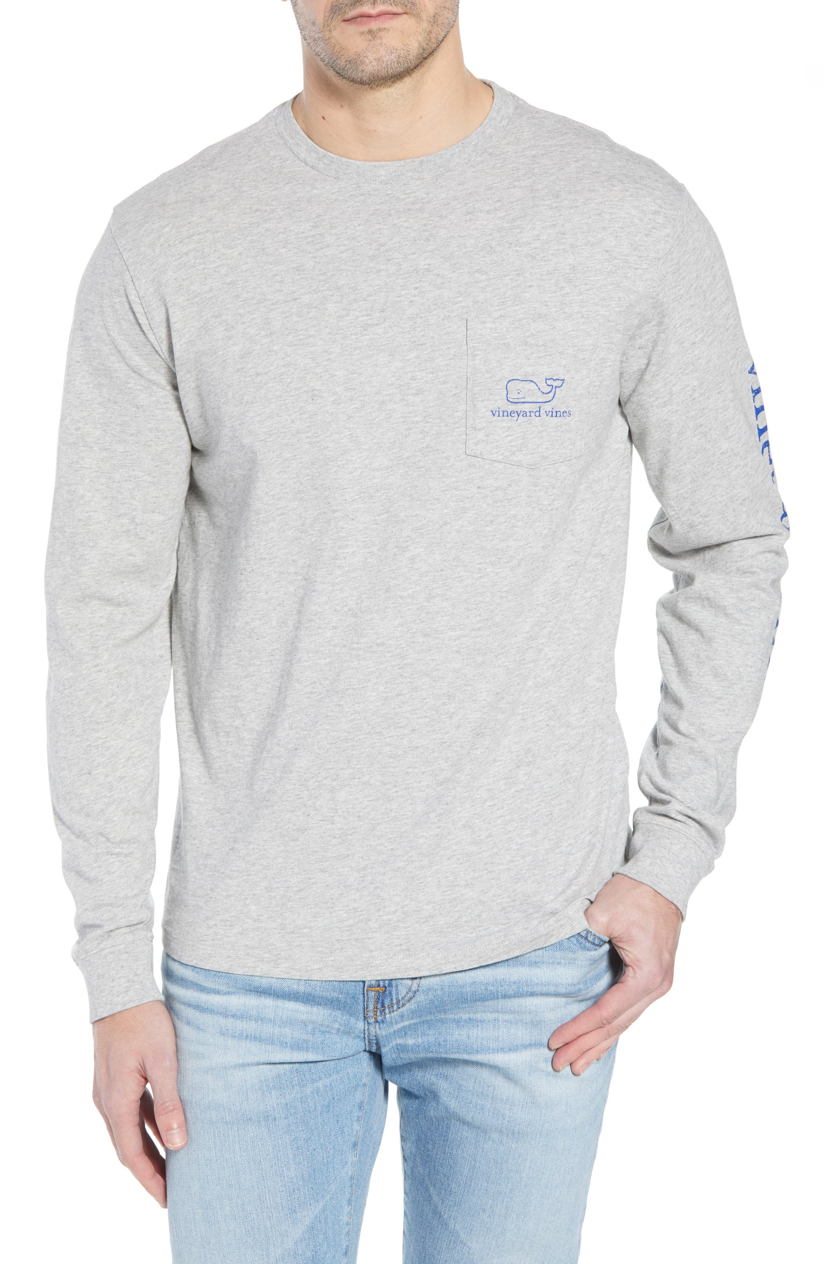 Vintage Whale Graphic Pocket T-Shirt,                         Main,                         color, GREY