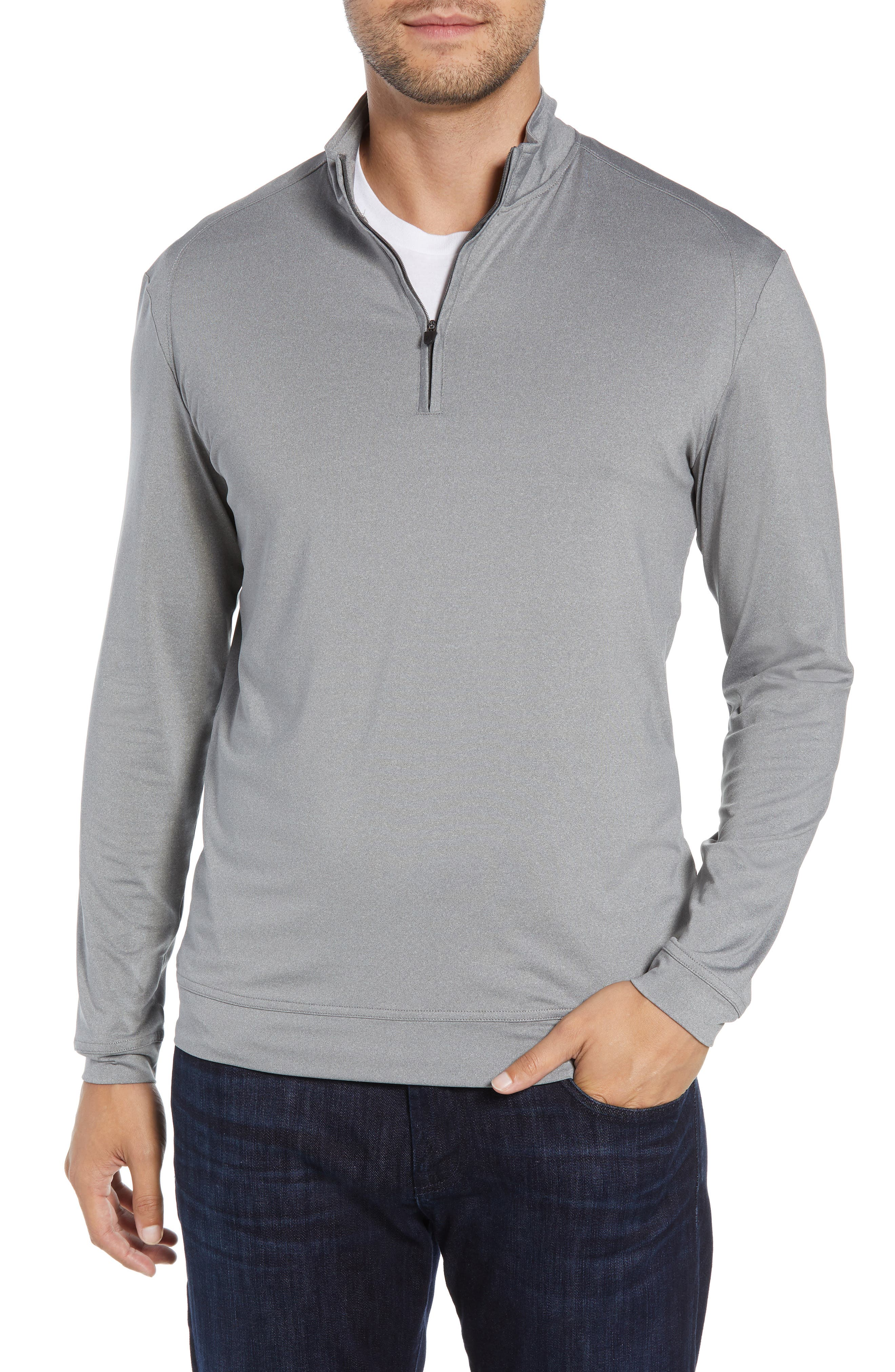 Flex Classic Fit Quarter Zip Pullover,                             Main thumbnail 1, color,                             METEOR