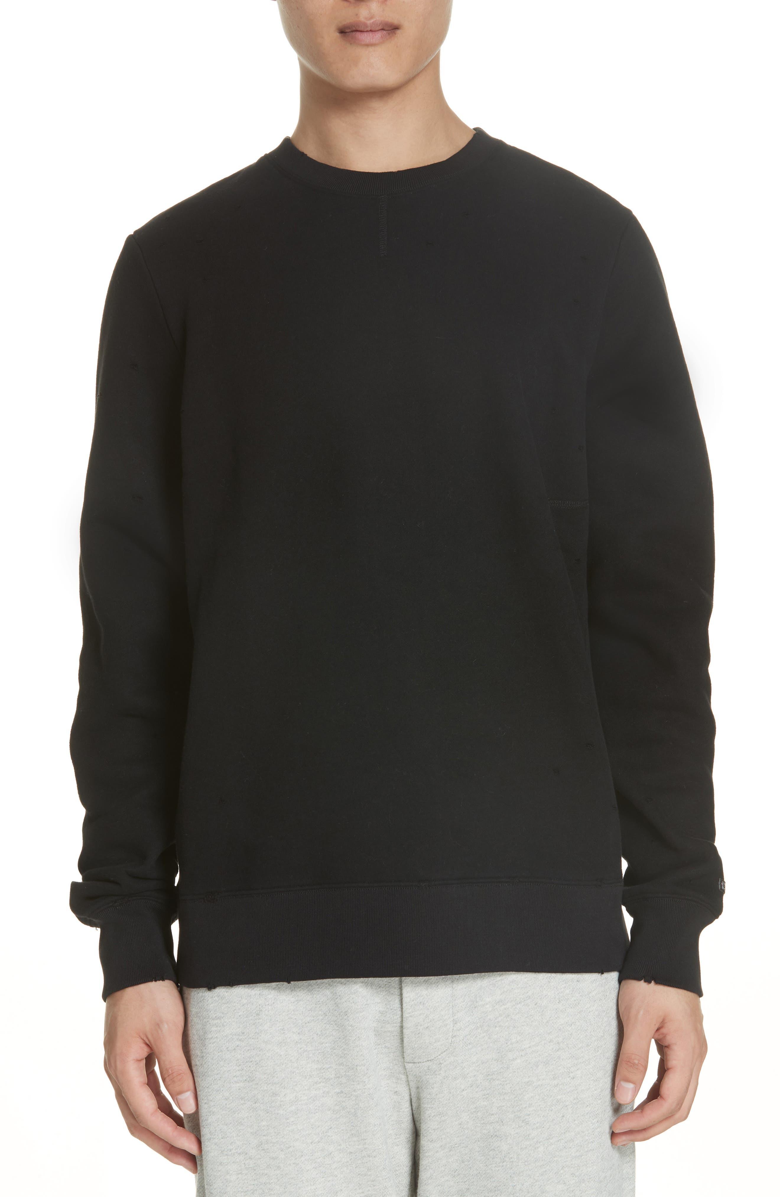 Distressed Crewneck Sweatshirt,                             Main thumbnail 1, color,                             BLACK