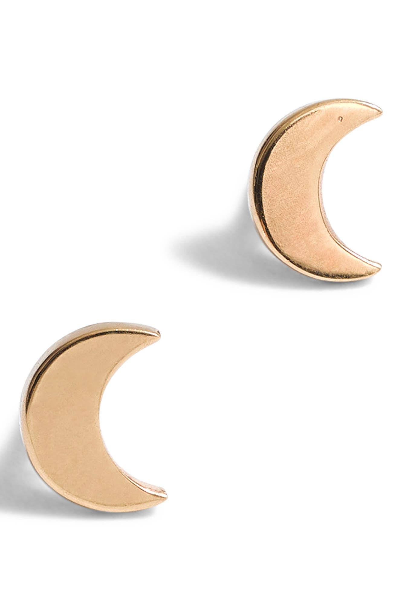 Vermeil Crescent Moon Stud Earrings,                         Main,                         color, VERMEIL