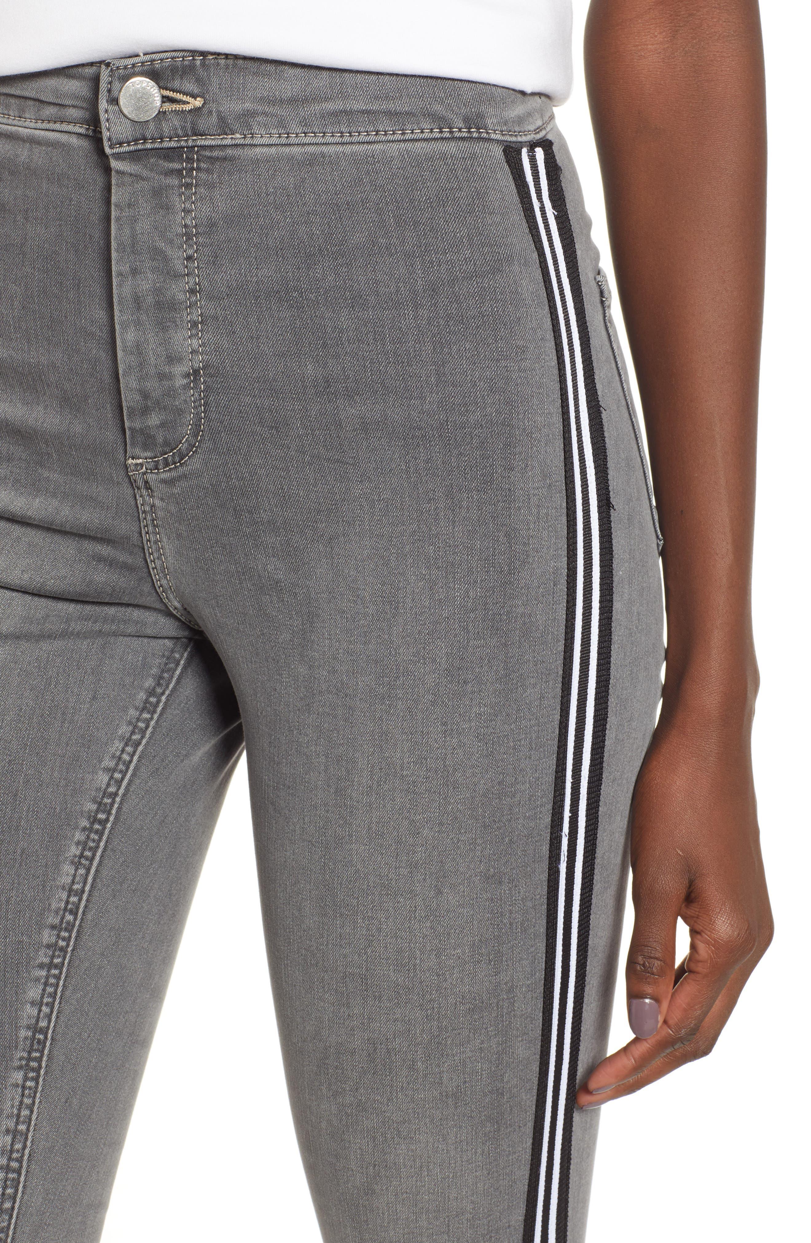 Joni Side Stripe Crop Skinny Jeans,                             Alternate thumbnail 4, color,                             GREY