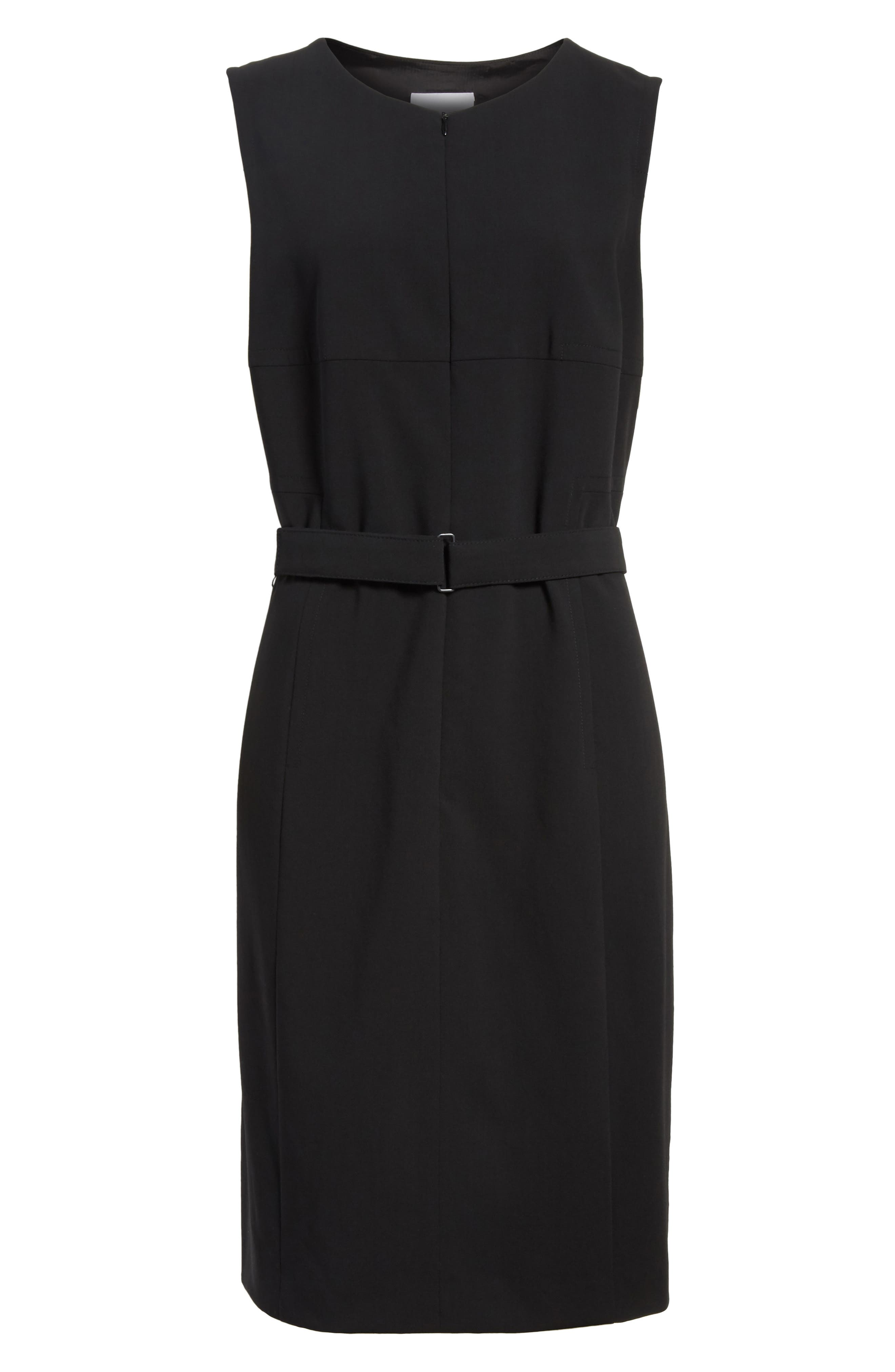 Belted Zip Front Wool Dress,                             Alternate thumbnail 6, color,                             001